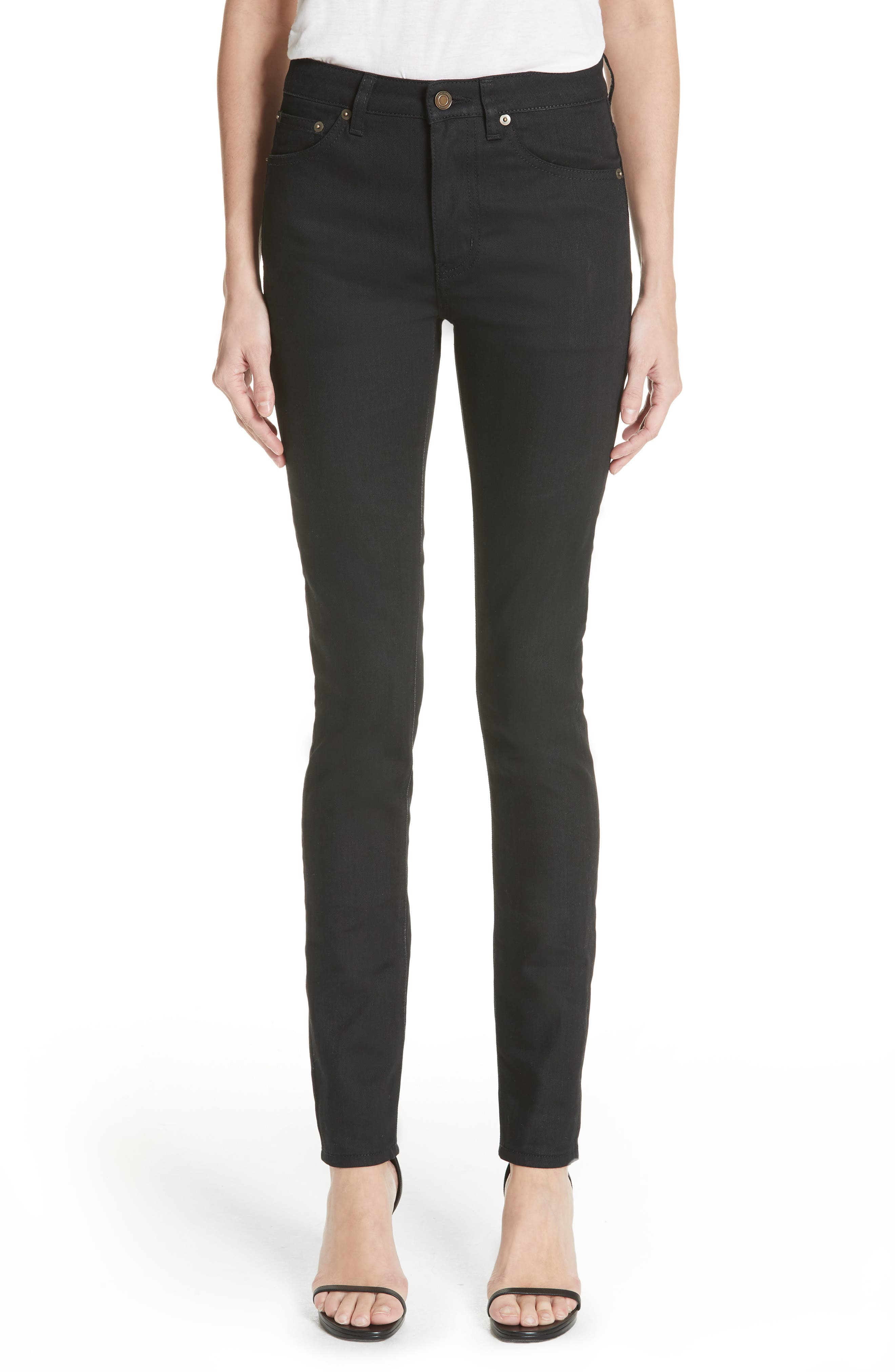 Coated Skinny Jeans,                         Main,                         color, Used Black