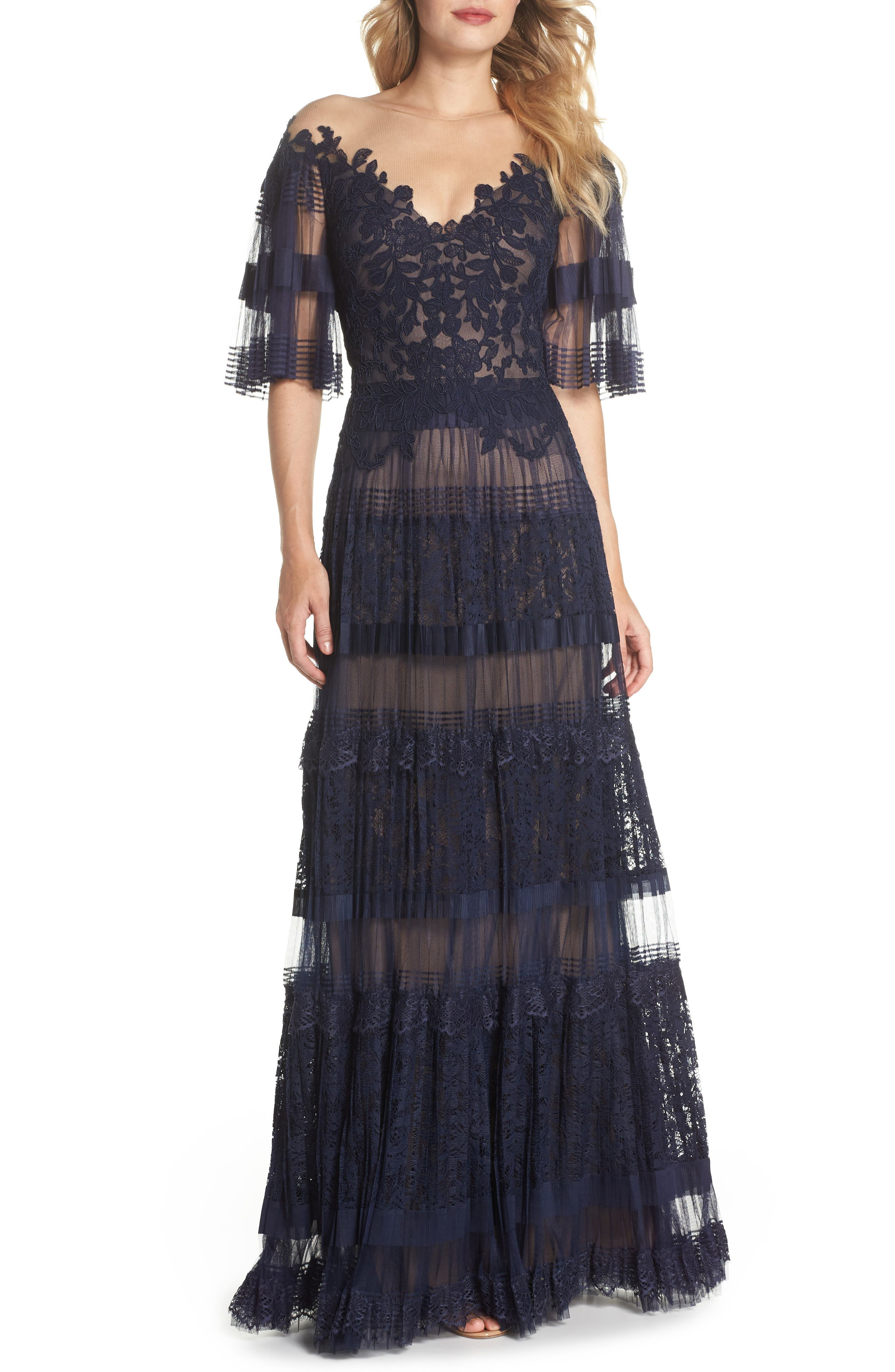 Illusion V-Neck Lace Gown,                         Main,                         color, Navy/ Nude