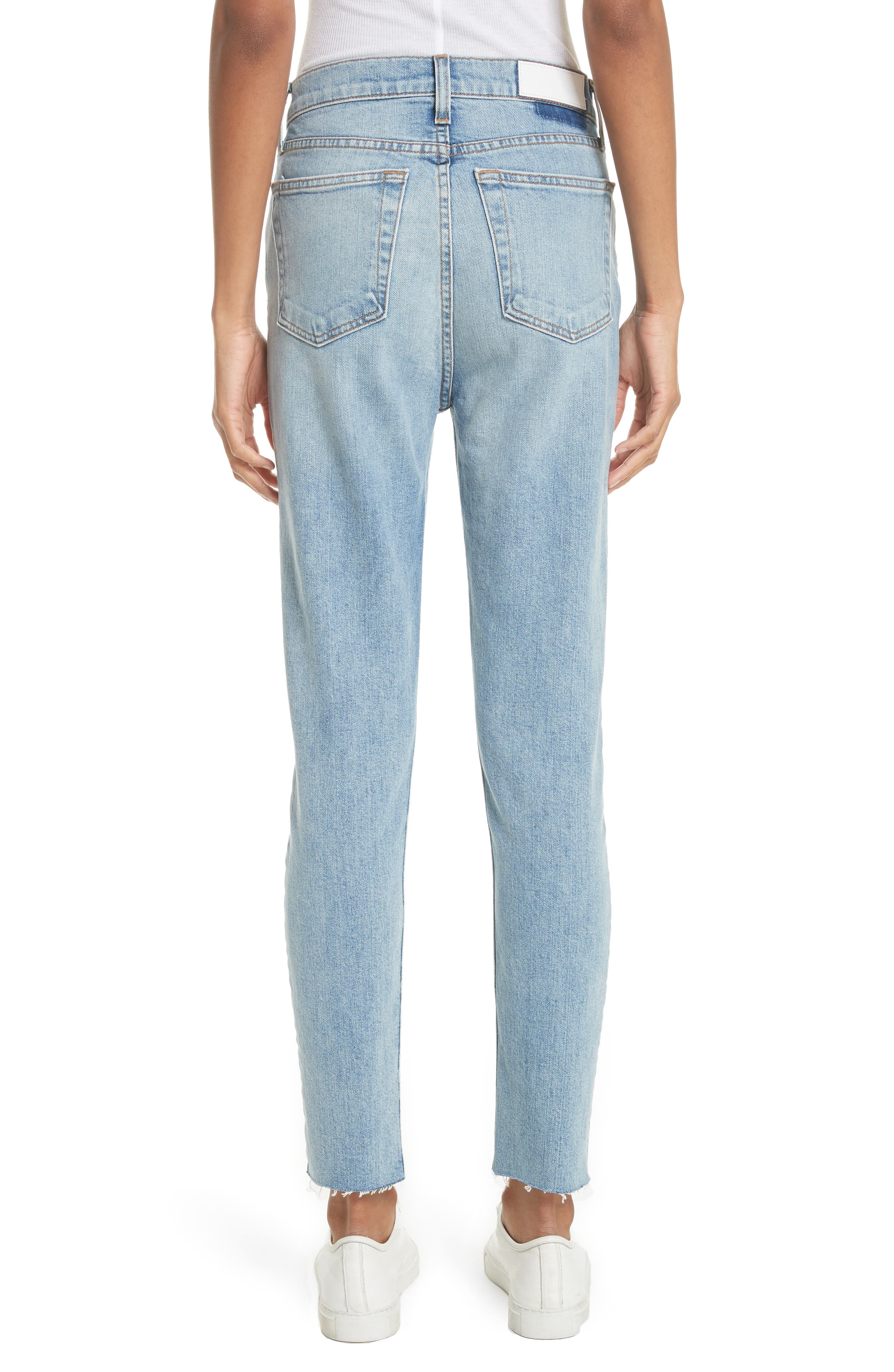 High Waist Crop Jeans,                             Alternate thumbnail 2, color,                             Dark Wash