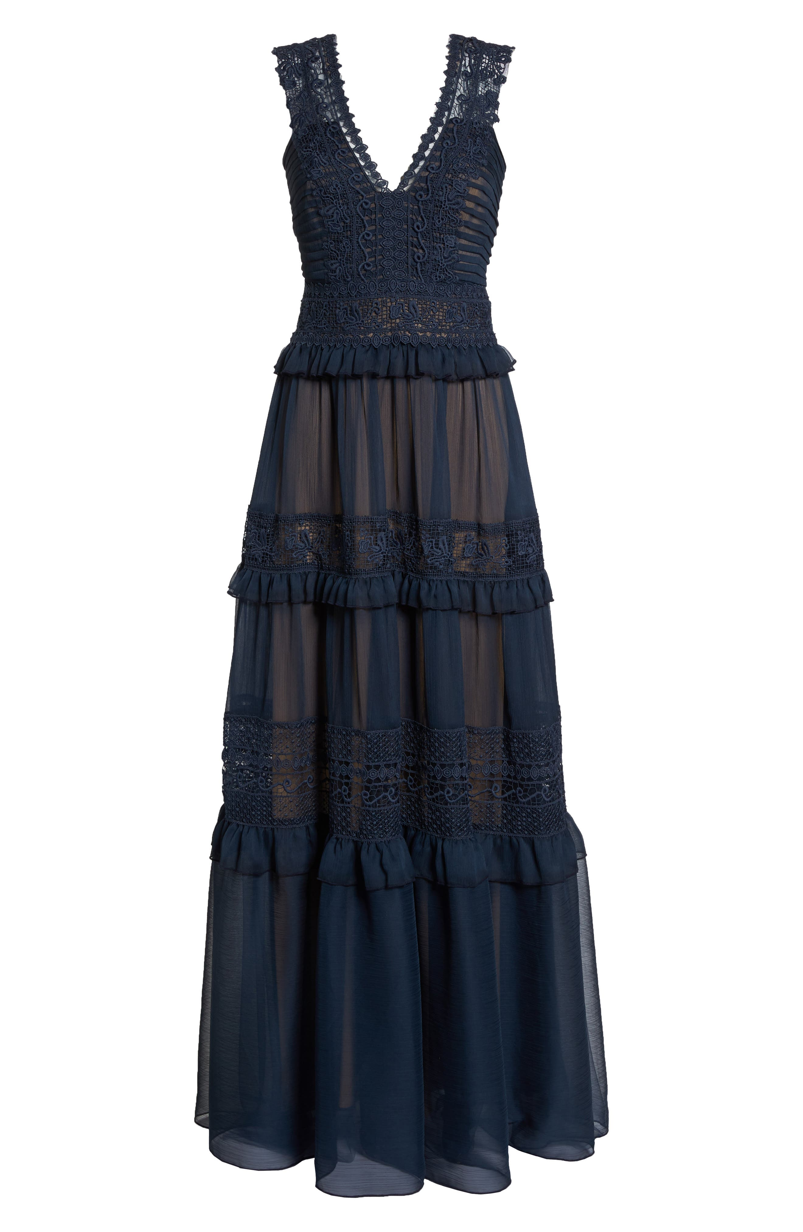 Tiered Lace & Chiffon Gown,                             Alternate thumbnail 6, color,                             Navy/ Nude