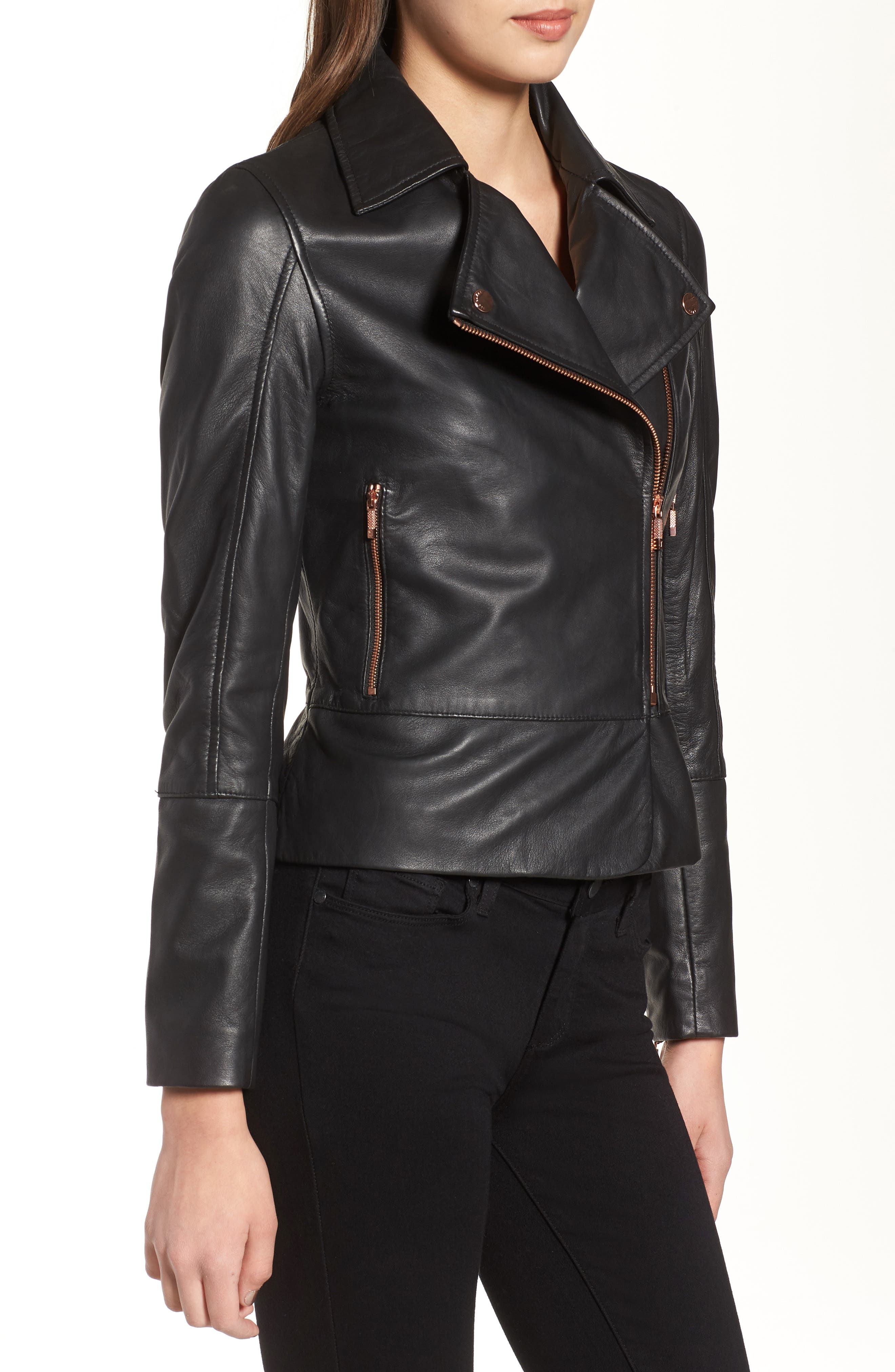 Alternate Image 3  - Ted Baker London Lizia Leather Biker Jacket