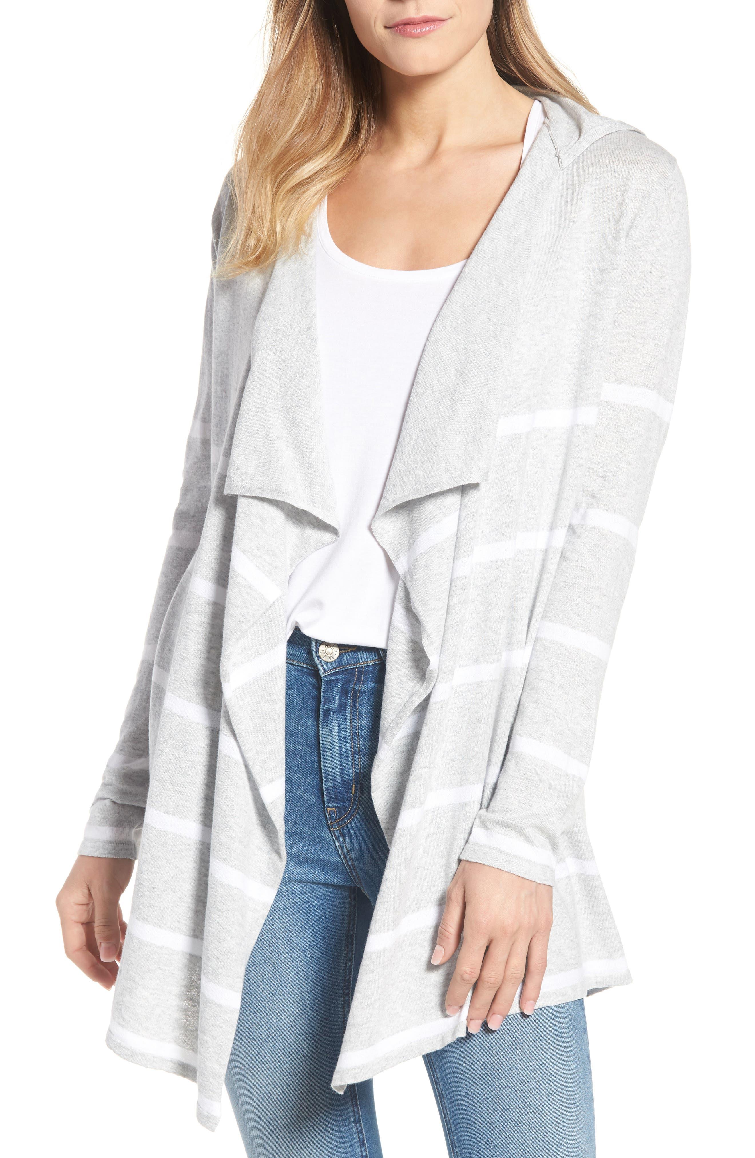 Flyaway Stripe Hoodie Cardigan,                         Main,                         color, Pebble Grey Mex/ Warm White