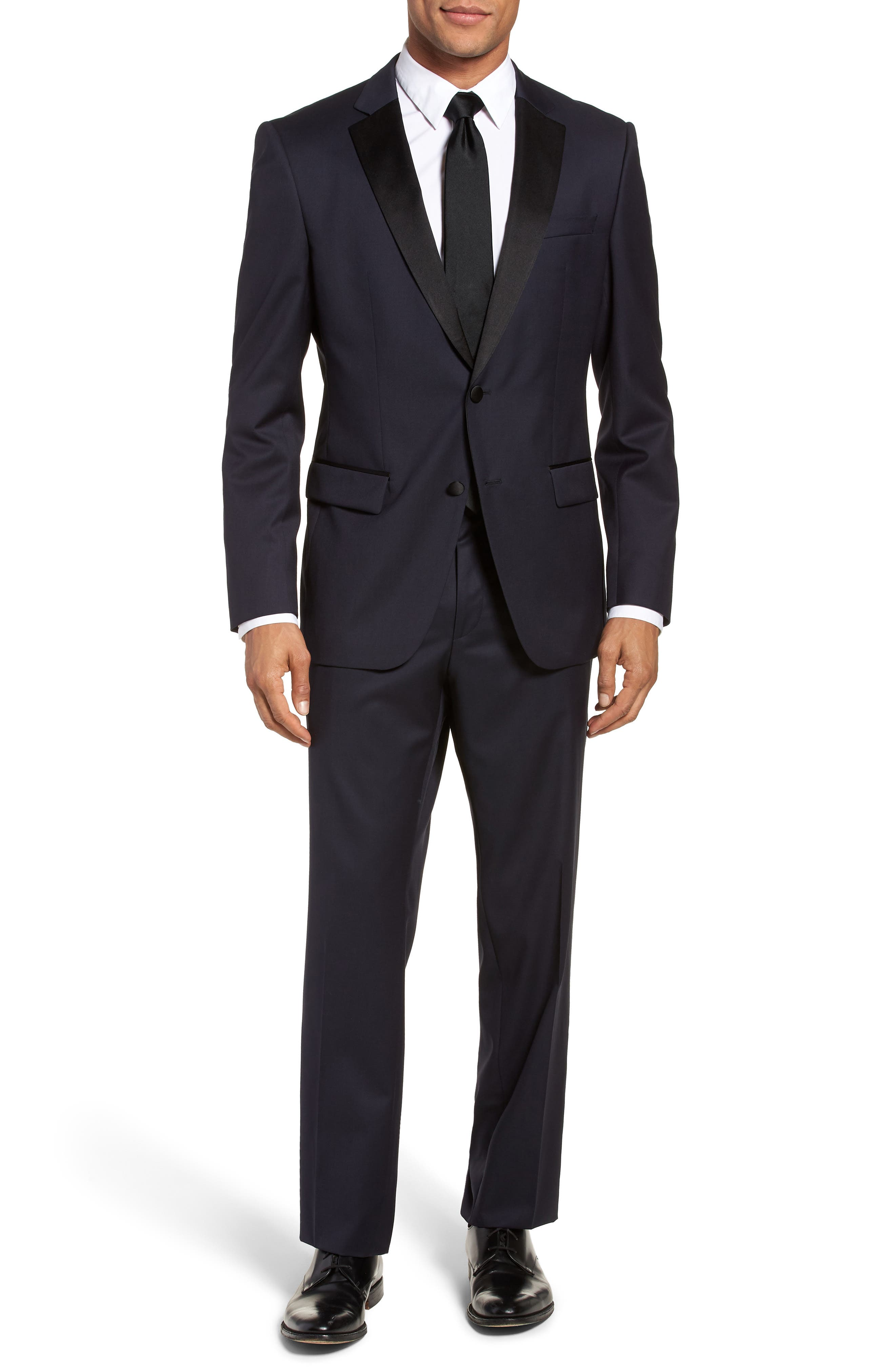 Hence CYL Trim Fit Wool Dinner Jacket,                             Alternate thumbnail 7, color,                             Dark Blue