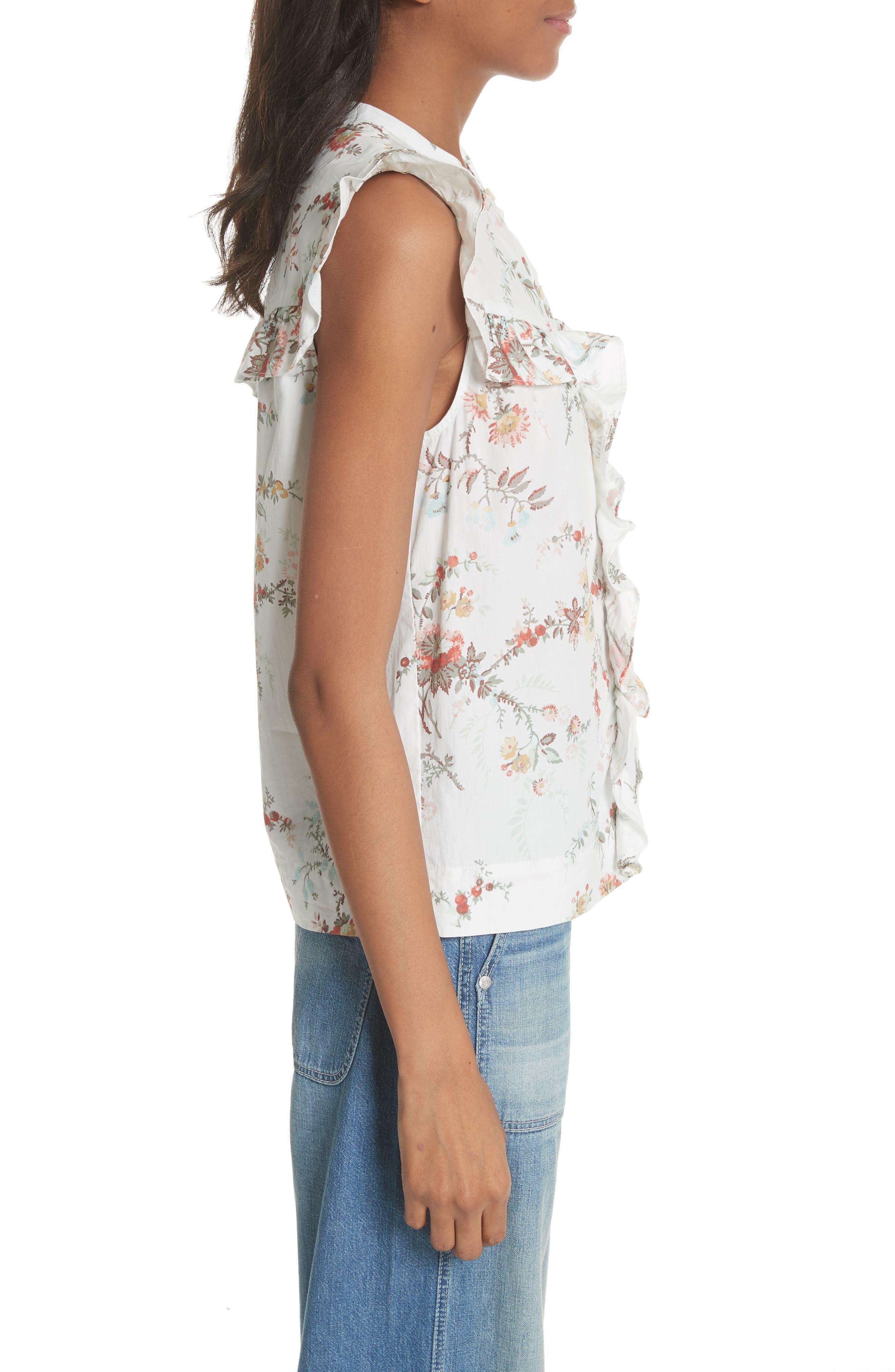 Belle Ruffle Floral Cotton Top,                             Alternate thumbnail 3, color,                             Milk Combo