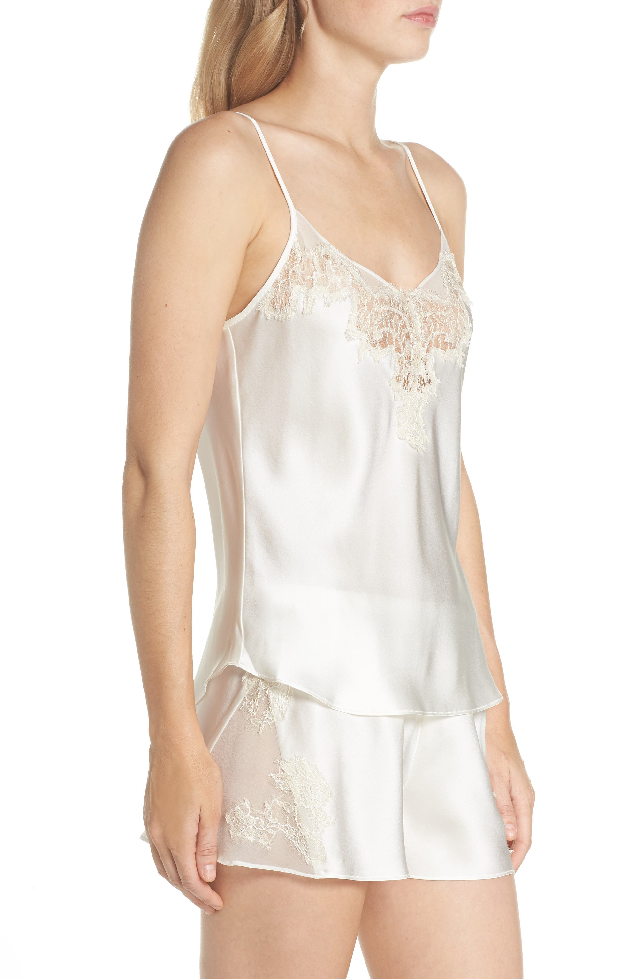 Lace Trim Short Silk Pajamas,                             Alternate thumbnail 3, color,                             Pearl / Champagne