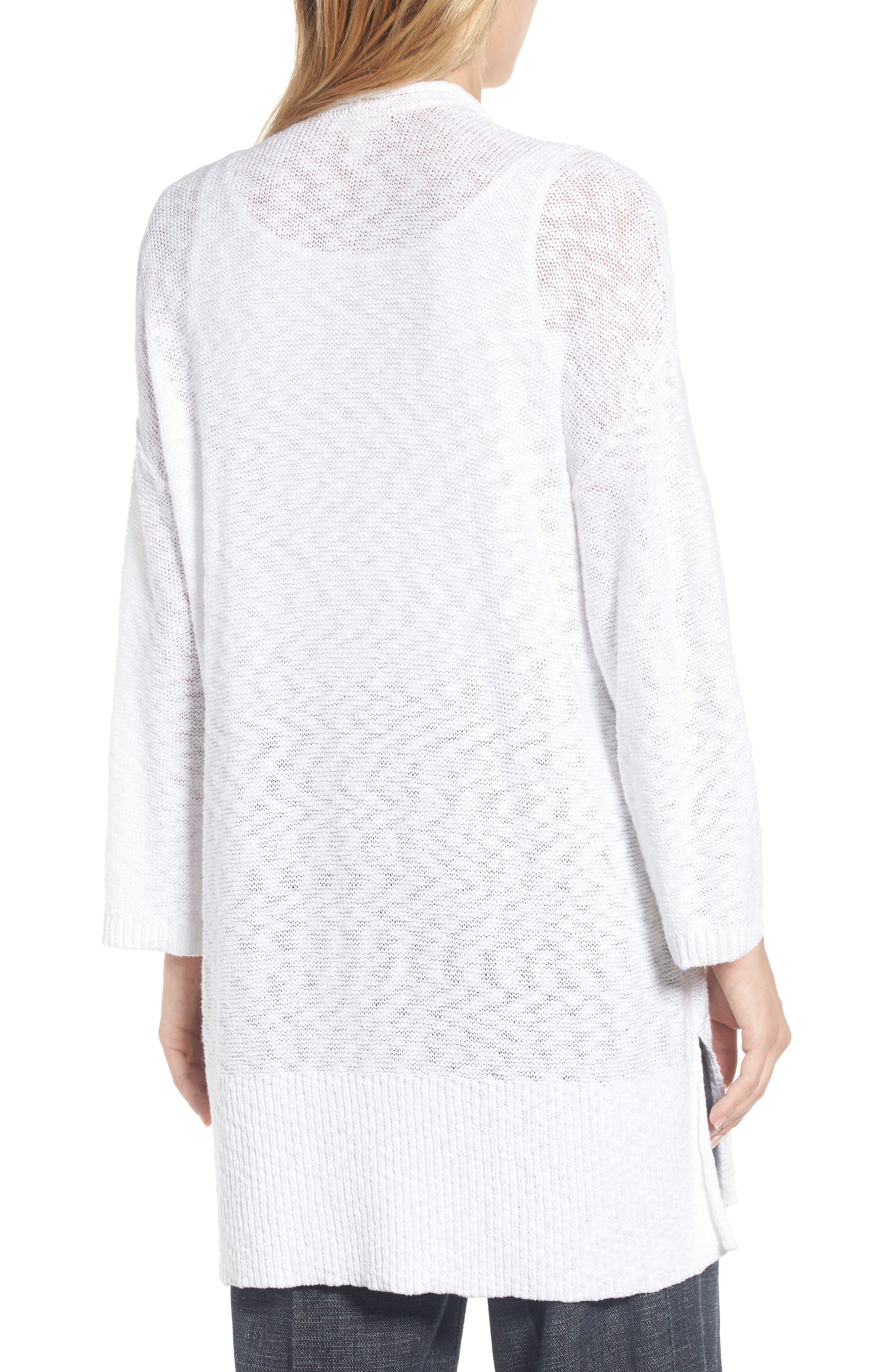 Long Organic Cotton Cardigan,                             Alternate thumbnail 2, color,                             White