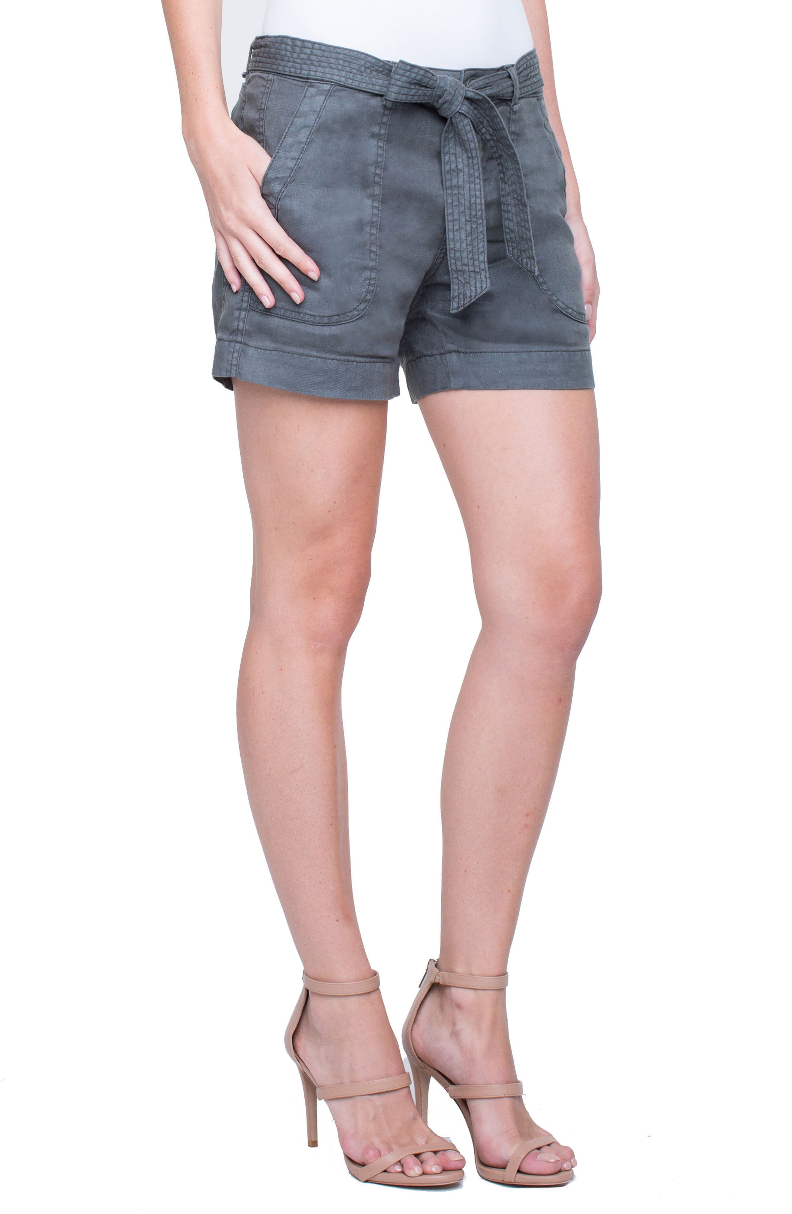 Kinley Stretch Linen Shorts,                             Main thumbnail 1, color,                             Fennel Green