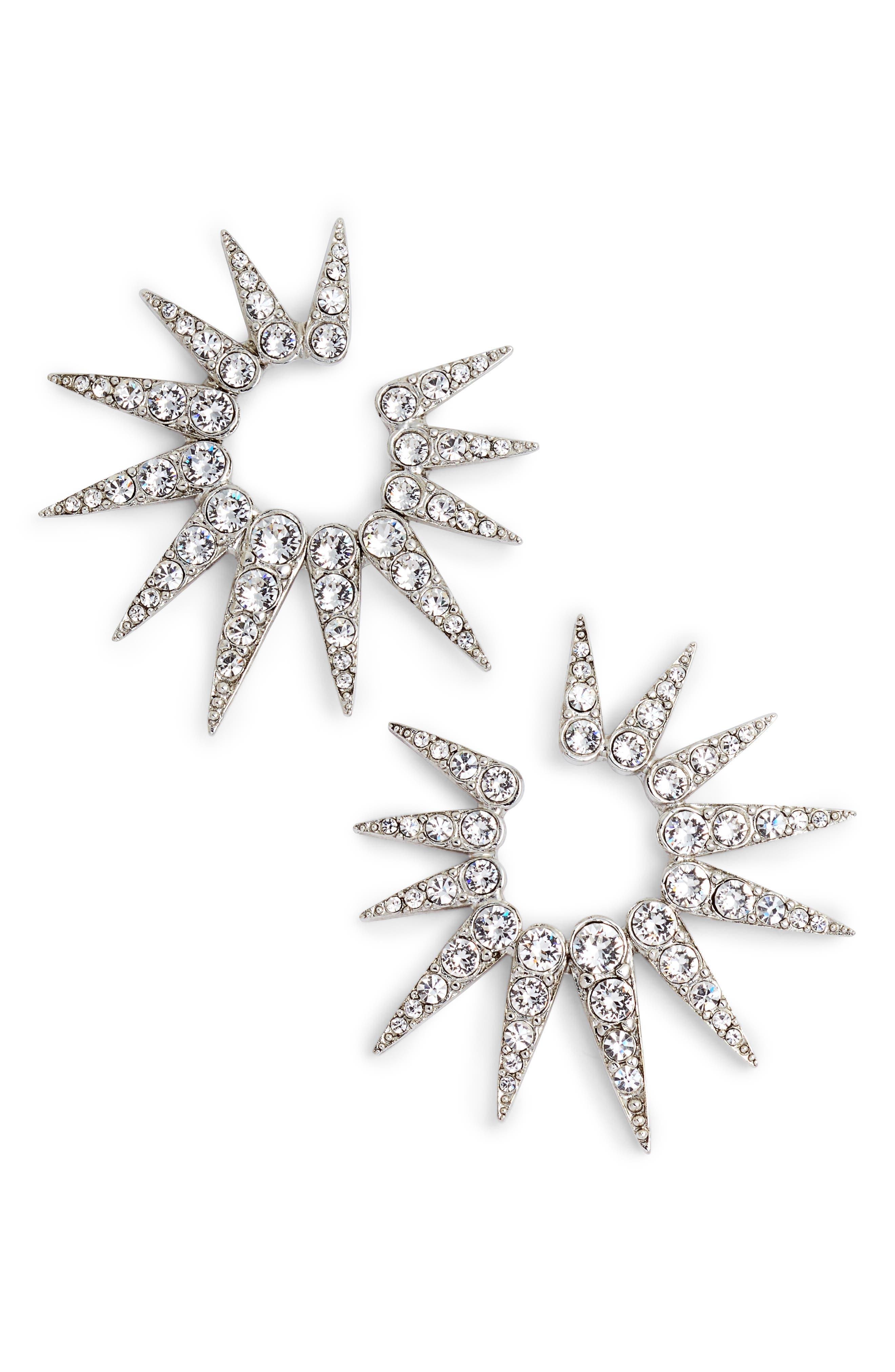 Oscar de la Renta Small Crystal Sea Urchin Earrings