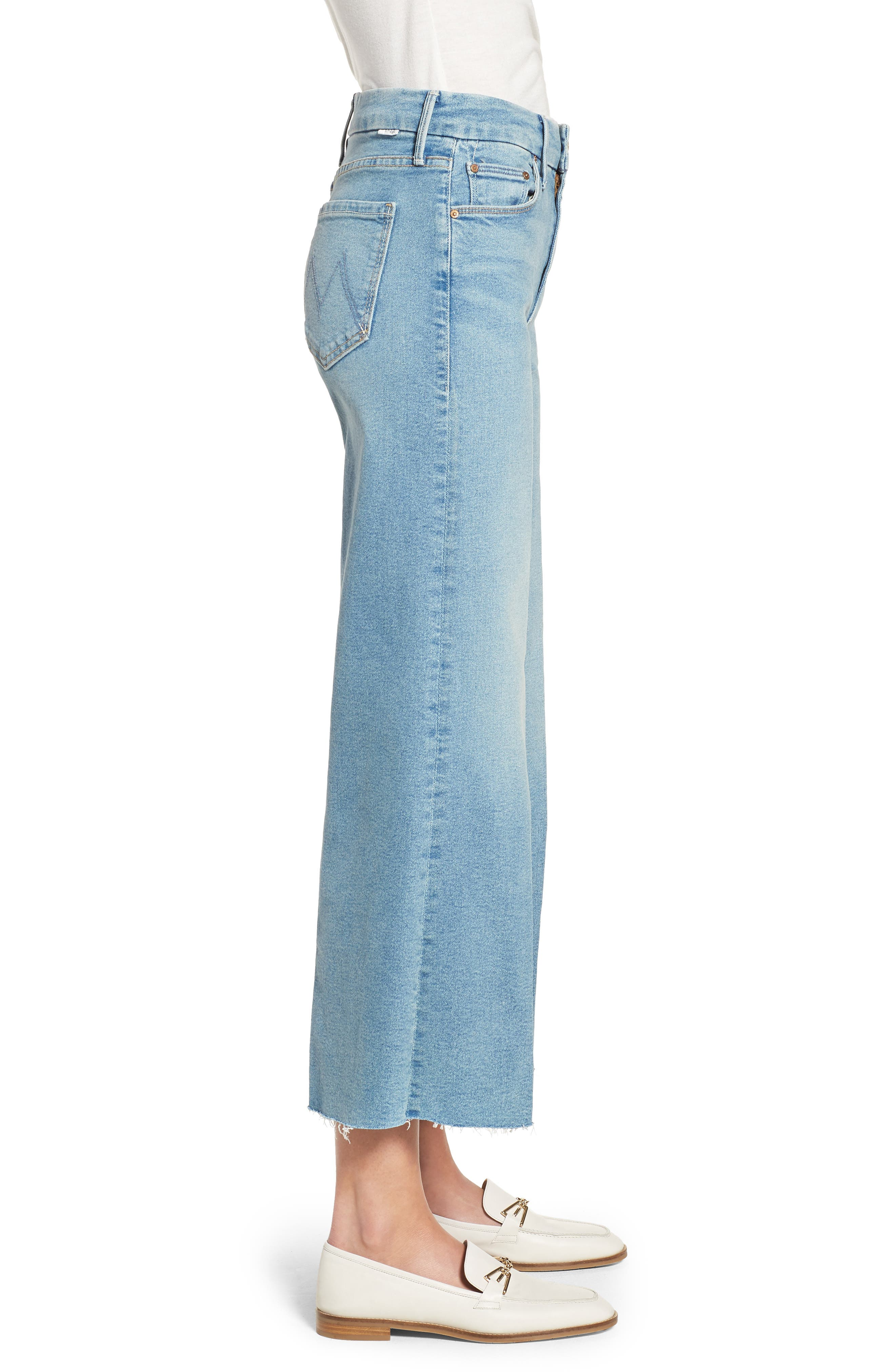 The Roller Crop Fray Wide Leg Jeans,                             Alternate thumbnail 3, color,                             Ready To Roll