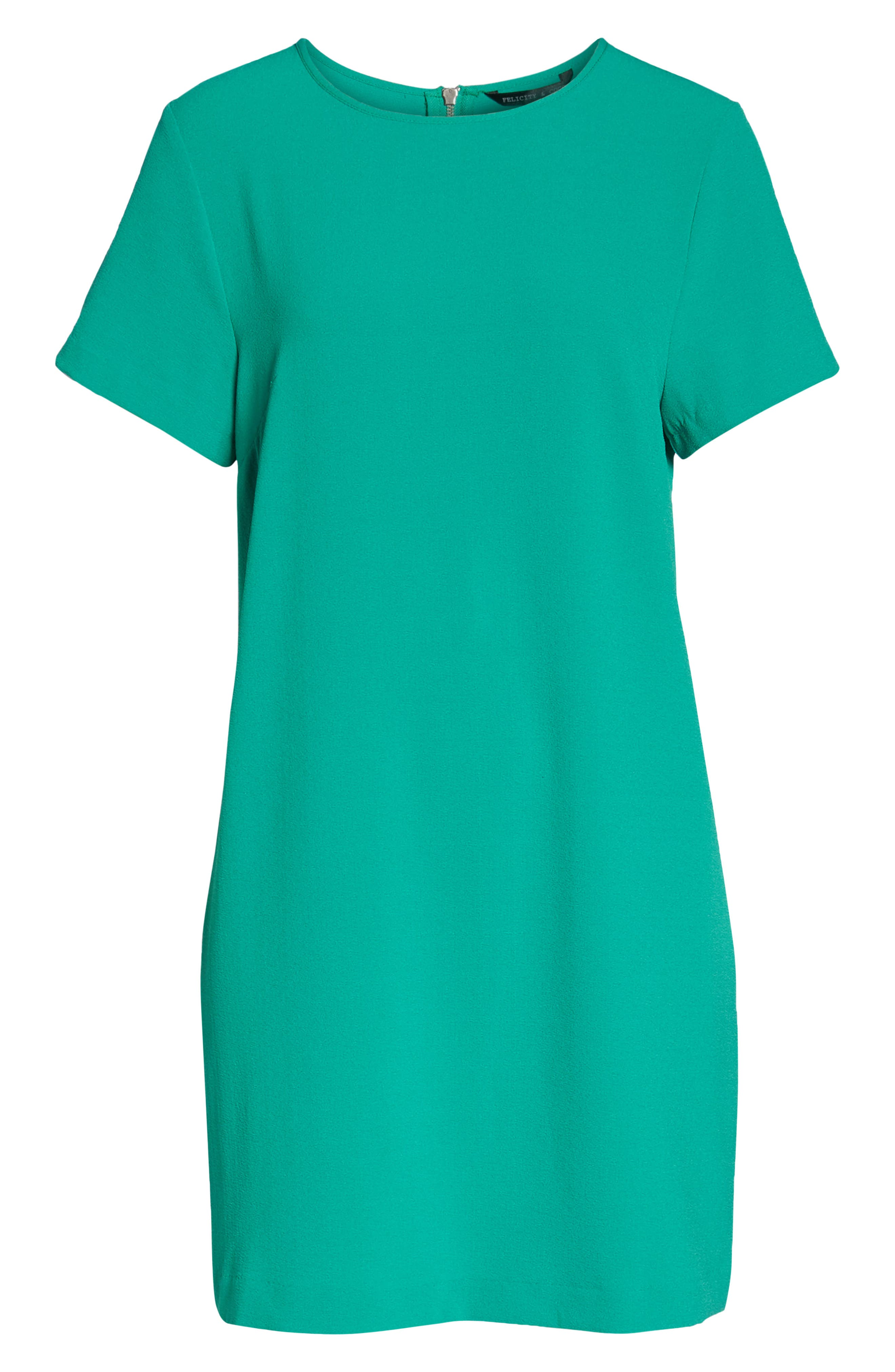 Devery Crepe Shift Dress,                             Alternate thumbnail 7, color,                             Emerald Green