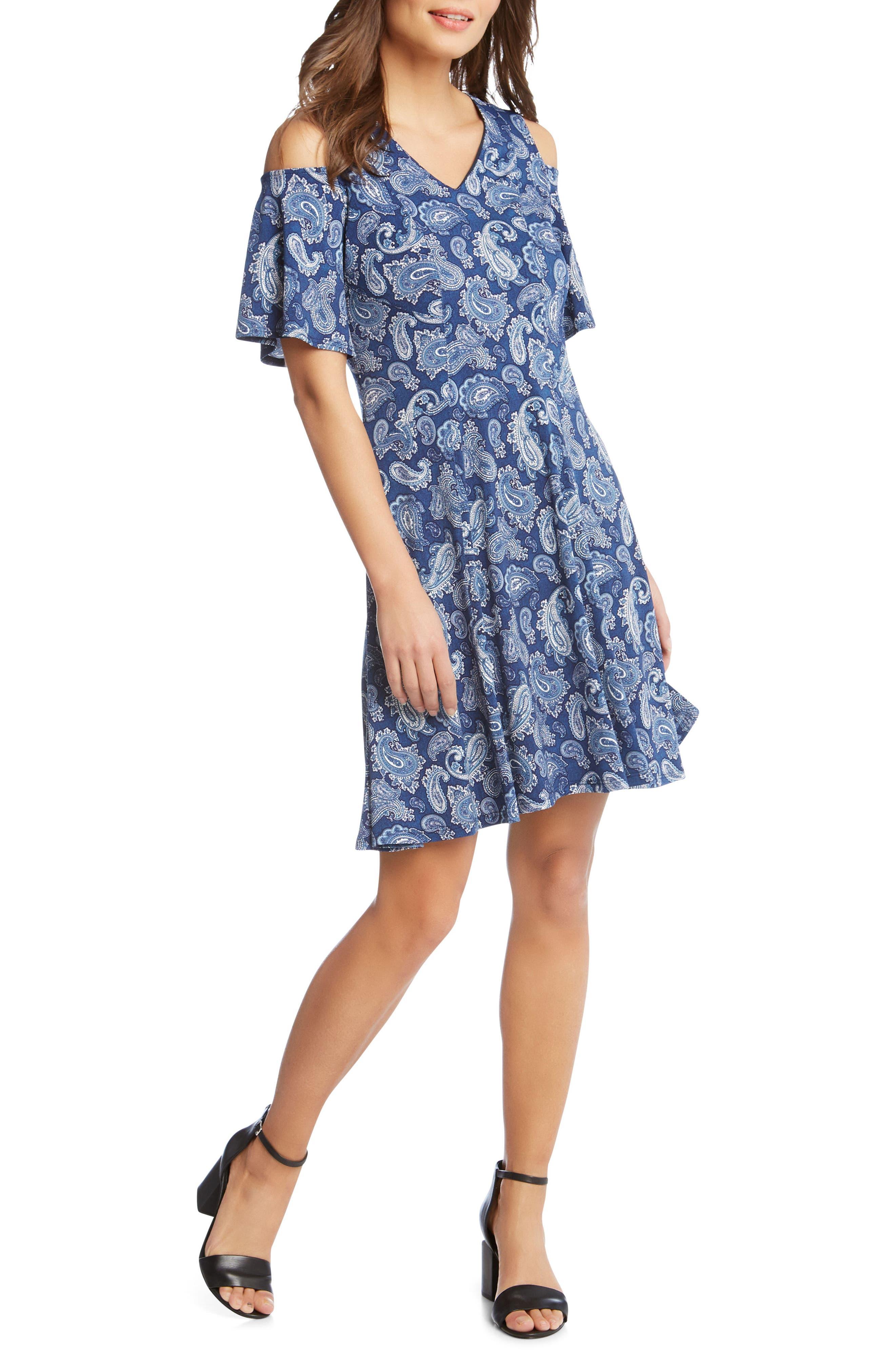 Cold Shoulder Paisley Dress,                             Alternate thumbnail 4, color,                             Paisley