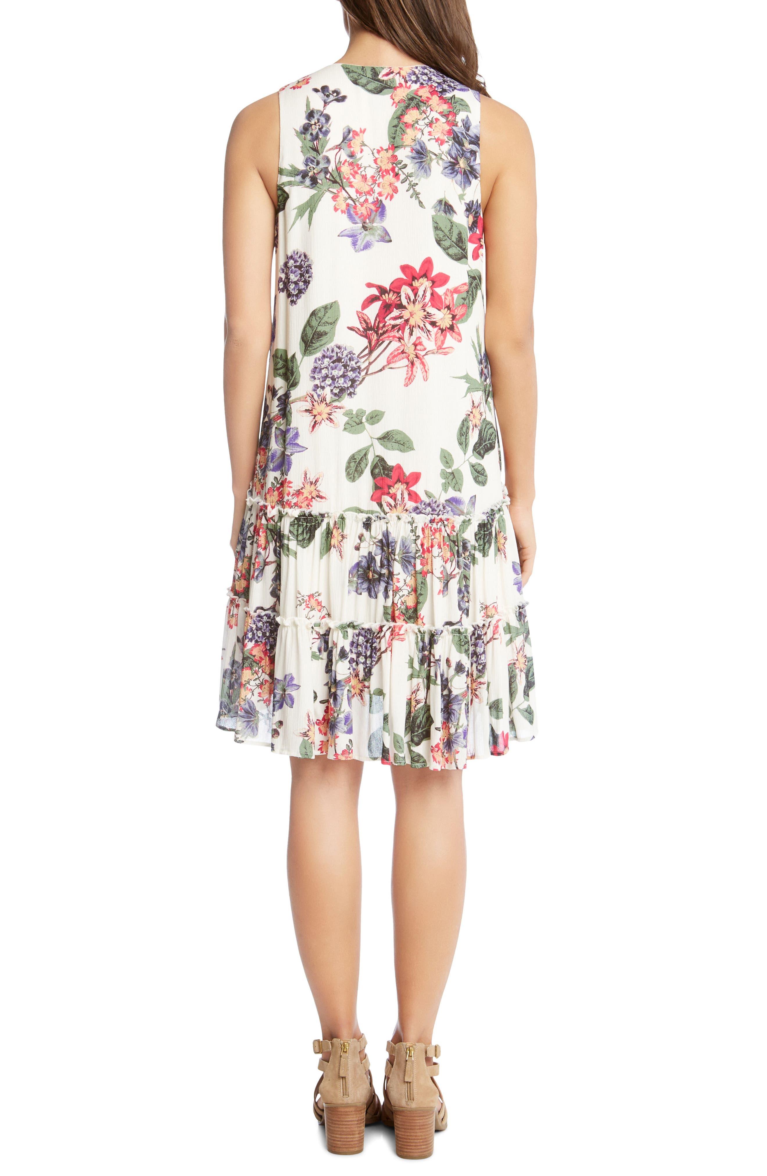 Ruffle Hem Floral Gauze Dress,                             Alternate thumbnail 2, color,                             Print