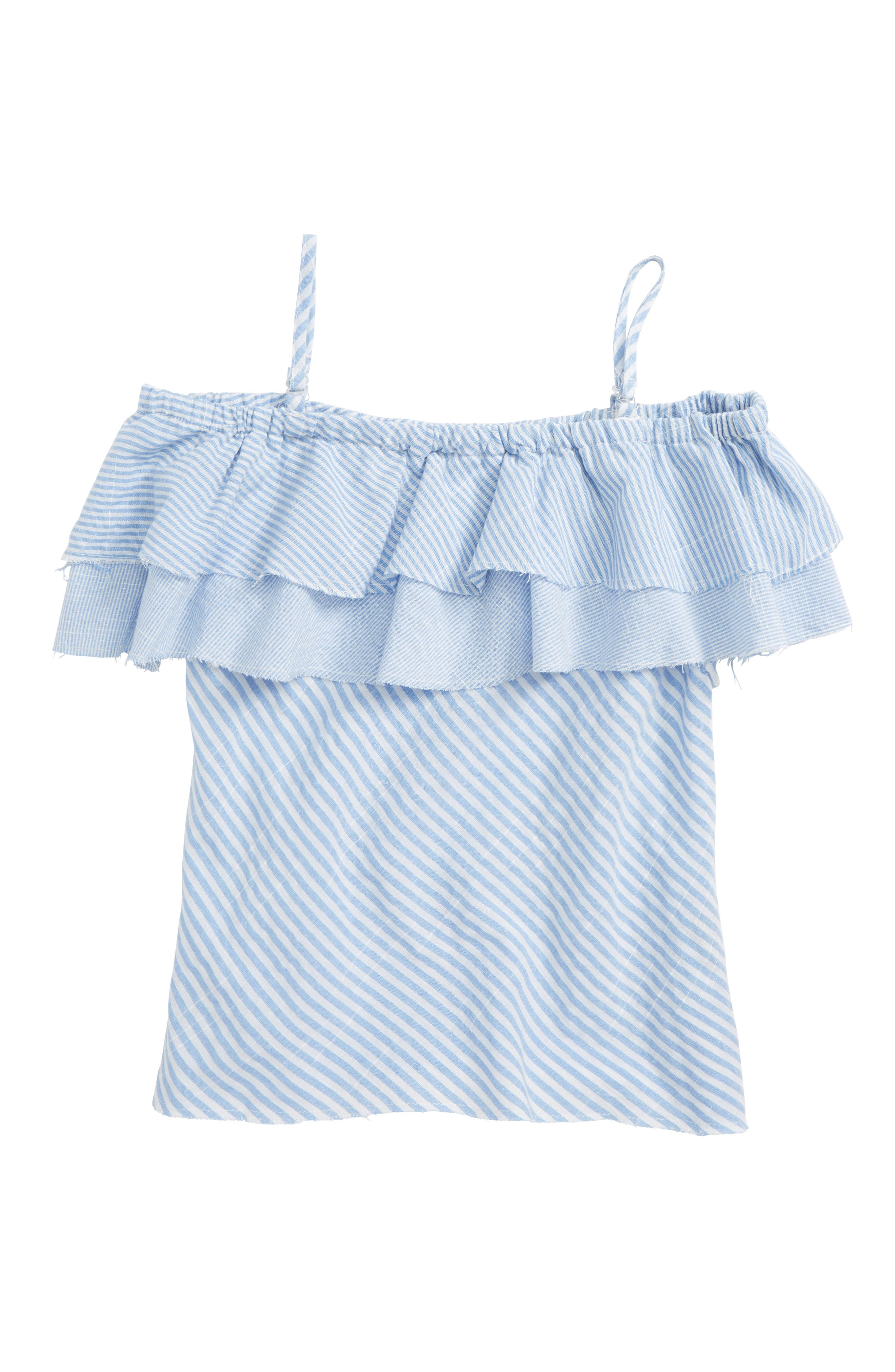 Striped Ruffle Top,                         Main,                         color, Blue/ White