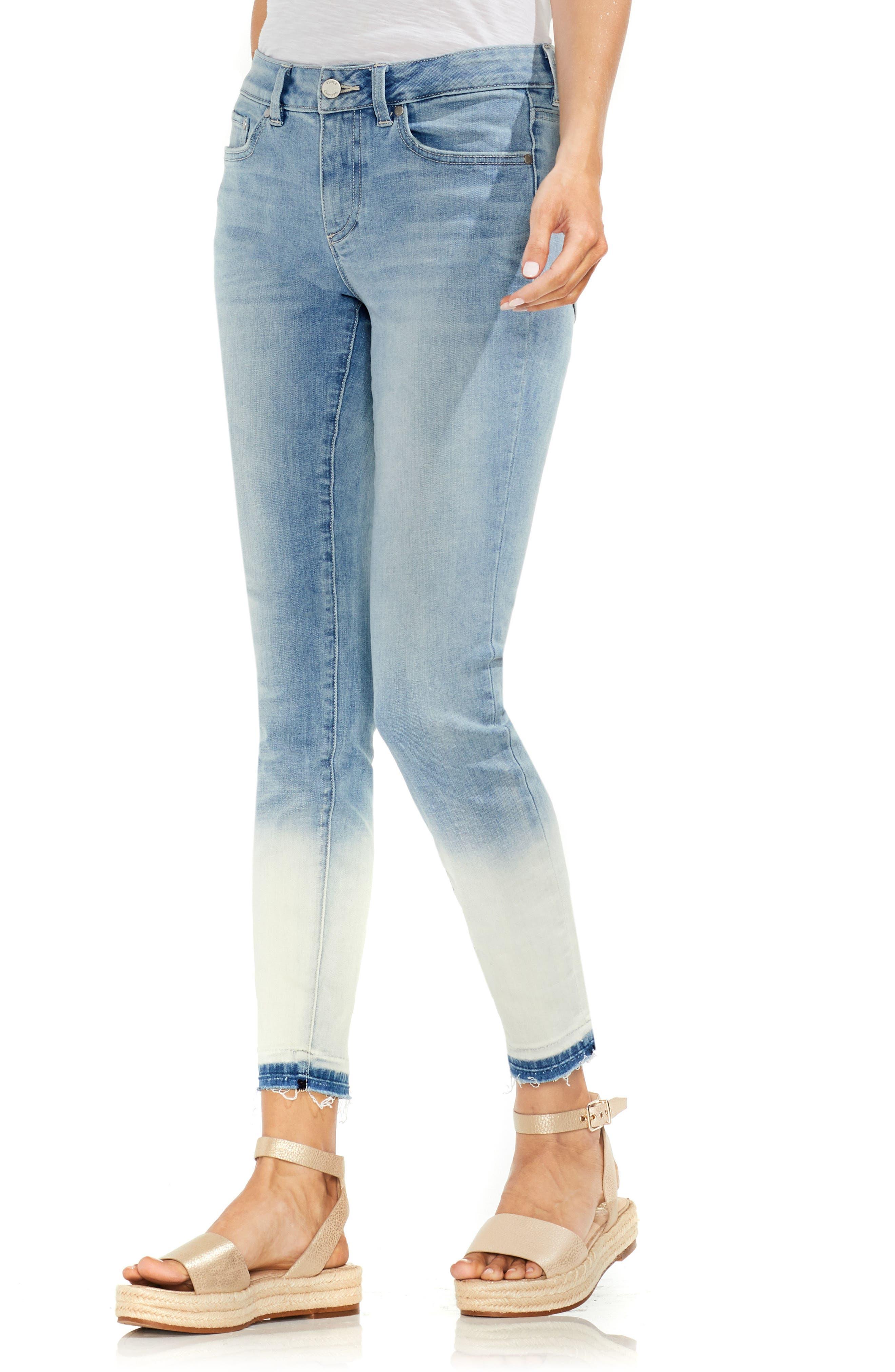 Ombré Release Hem Skinny Ankle Jeans,                             Main thumbnail 1, color,                             Sun Wash Blue