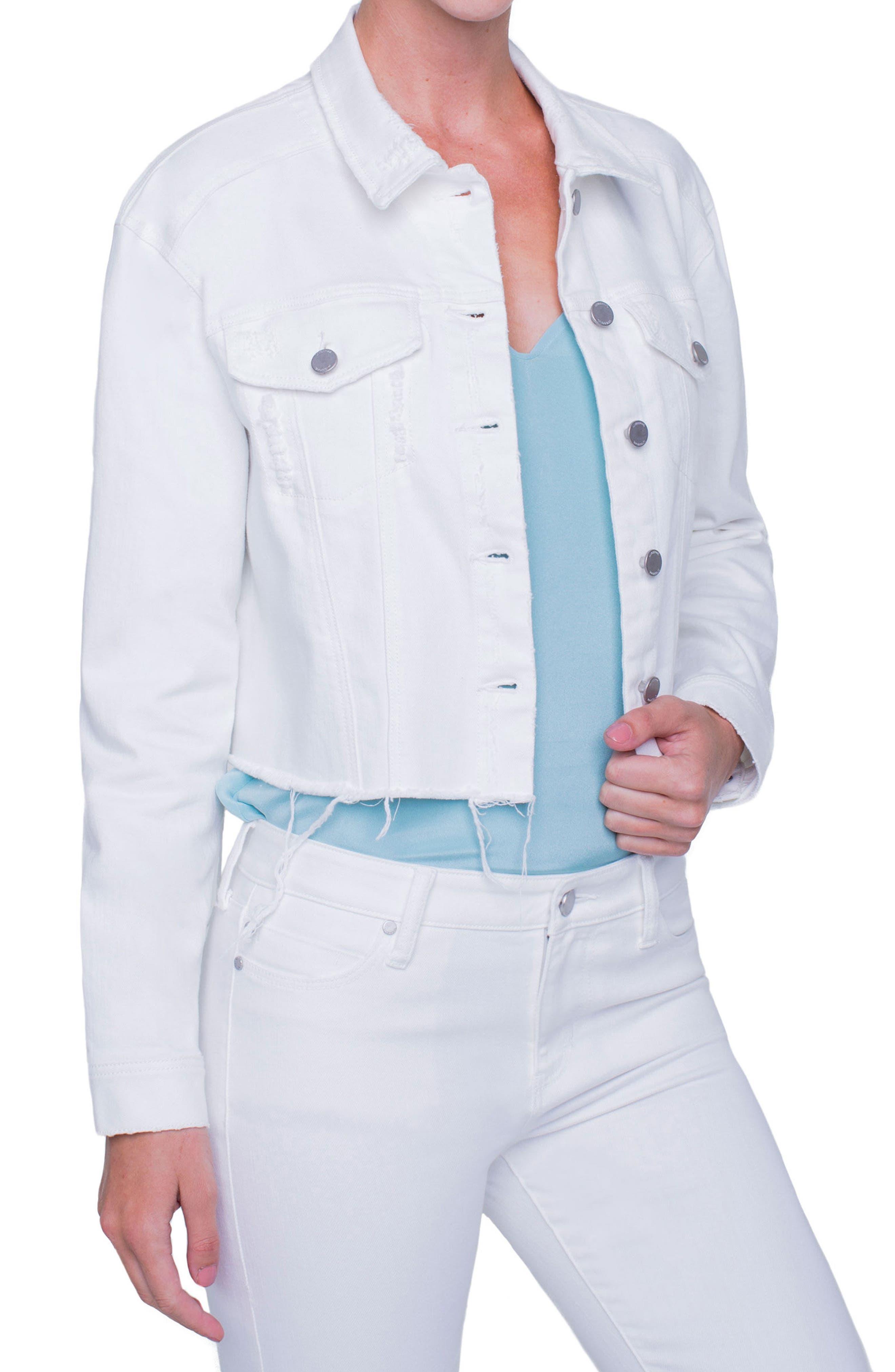 Alternate Image 2  - Liverpool Jeans Company Raw Edge Denim Jacket (Magnolia Destruct)