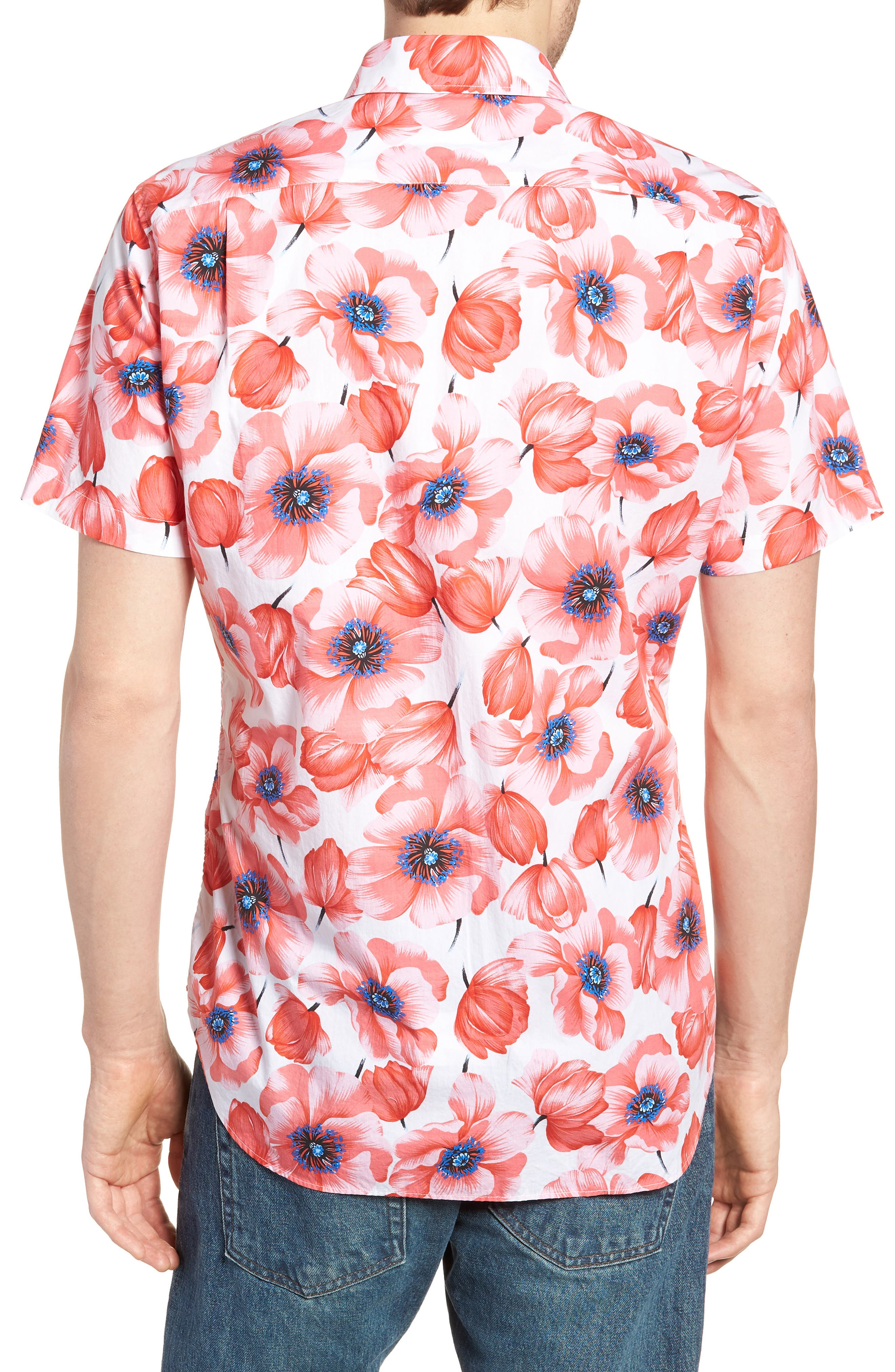 Premium Slim Fit Print Short Sleeve Sport Shirt,                             Alternate thumbnail 2, color,                             Tango Floral - Orange County