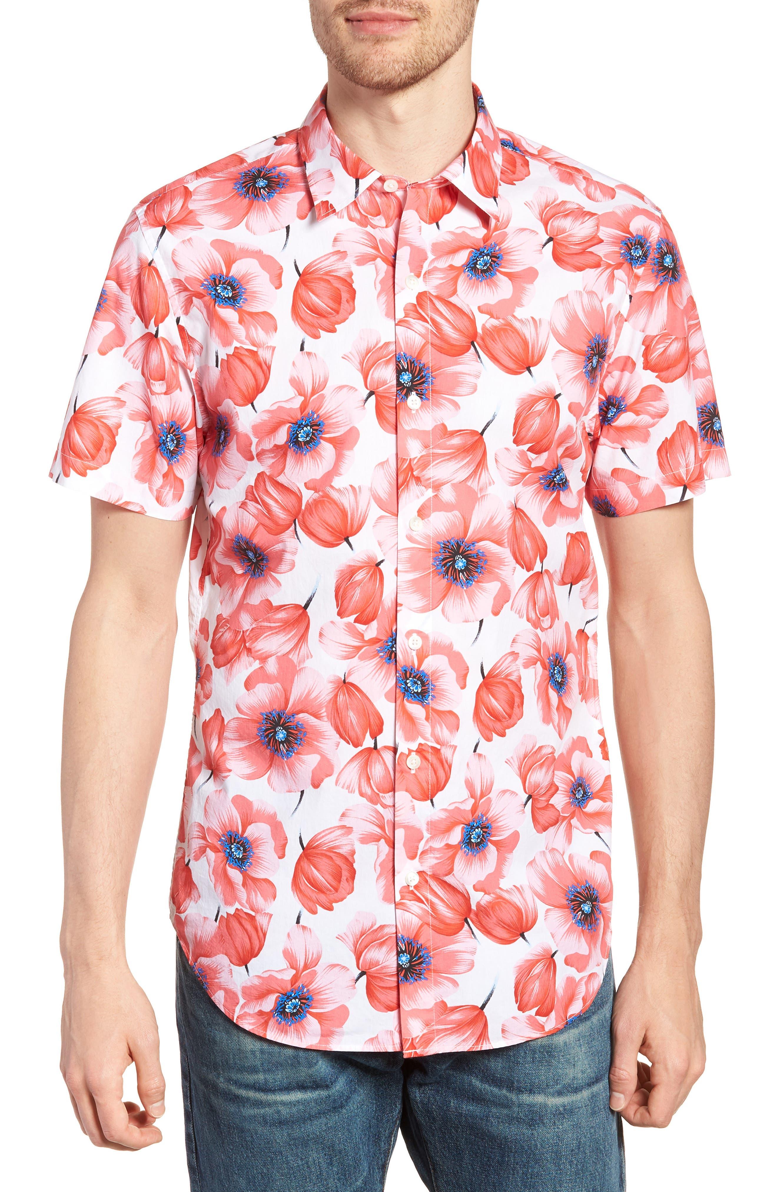 Premium Slim Fit Print Short Sleeve Sport Shirt,                         Main,                         color, Tango Floral - Orange County