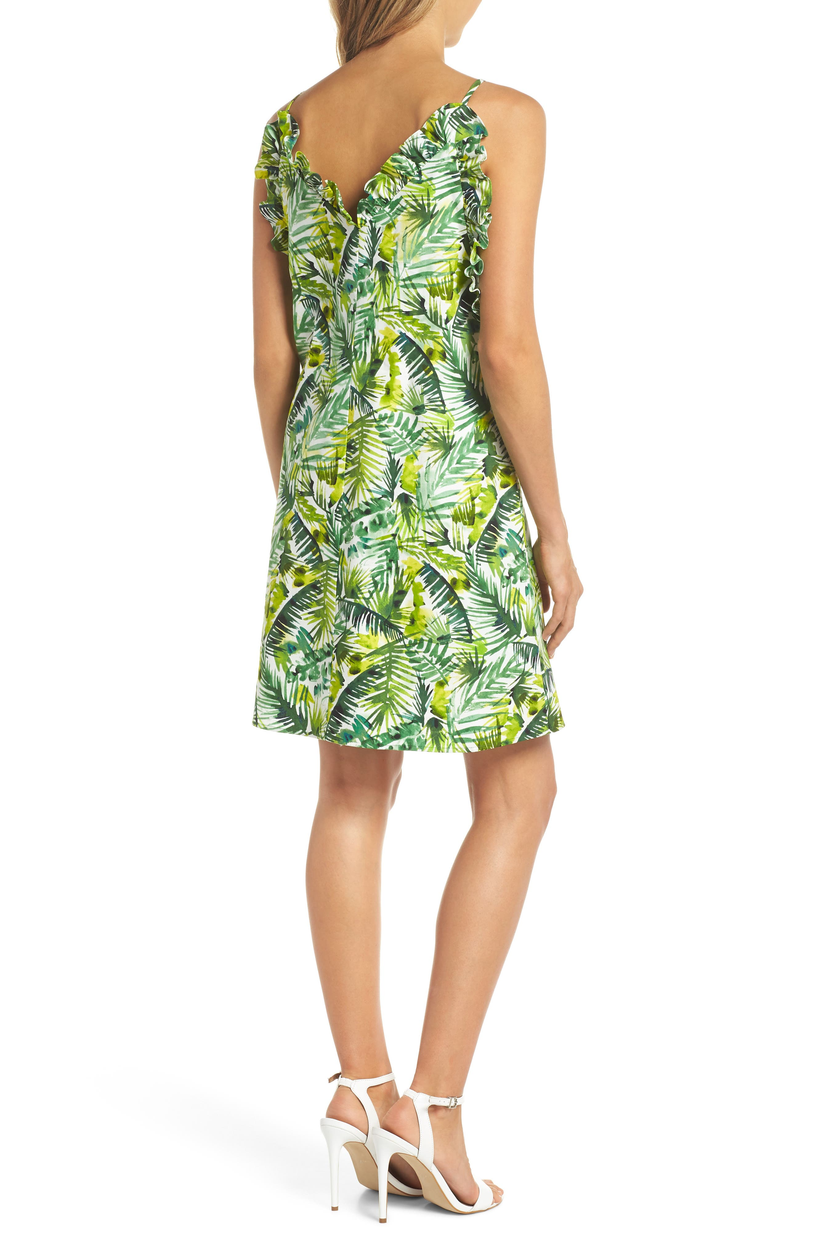 Ruffle Top Shift Dress,                             Alternate thumbnail 2, color,                             Soft White/ Green