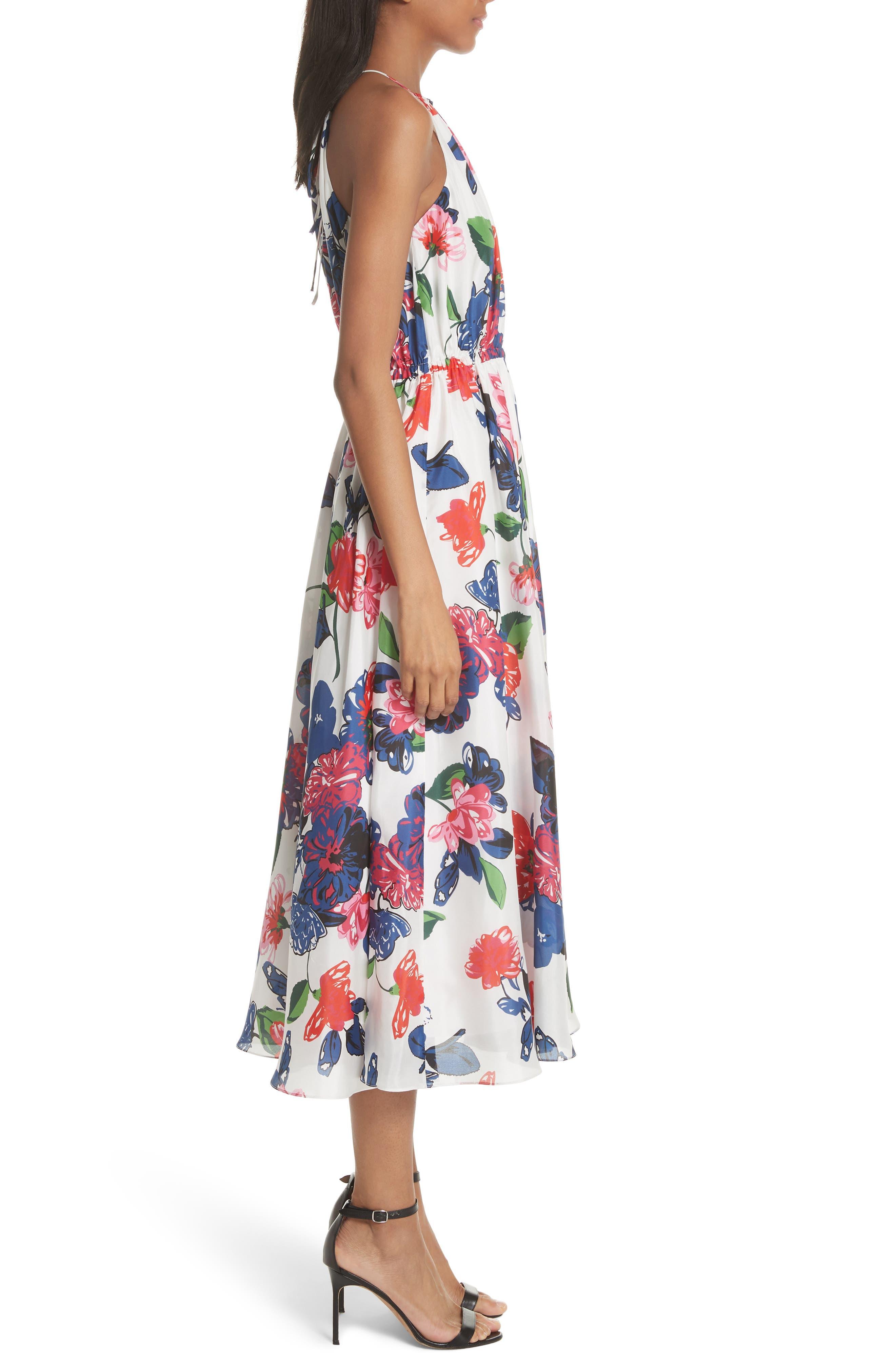 Floral Print Double Keyhole Silk Dress,                             Alternate thumbnail 3, color,                             Multi