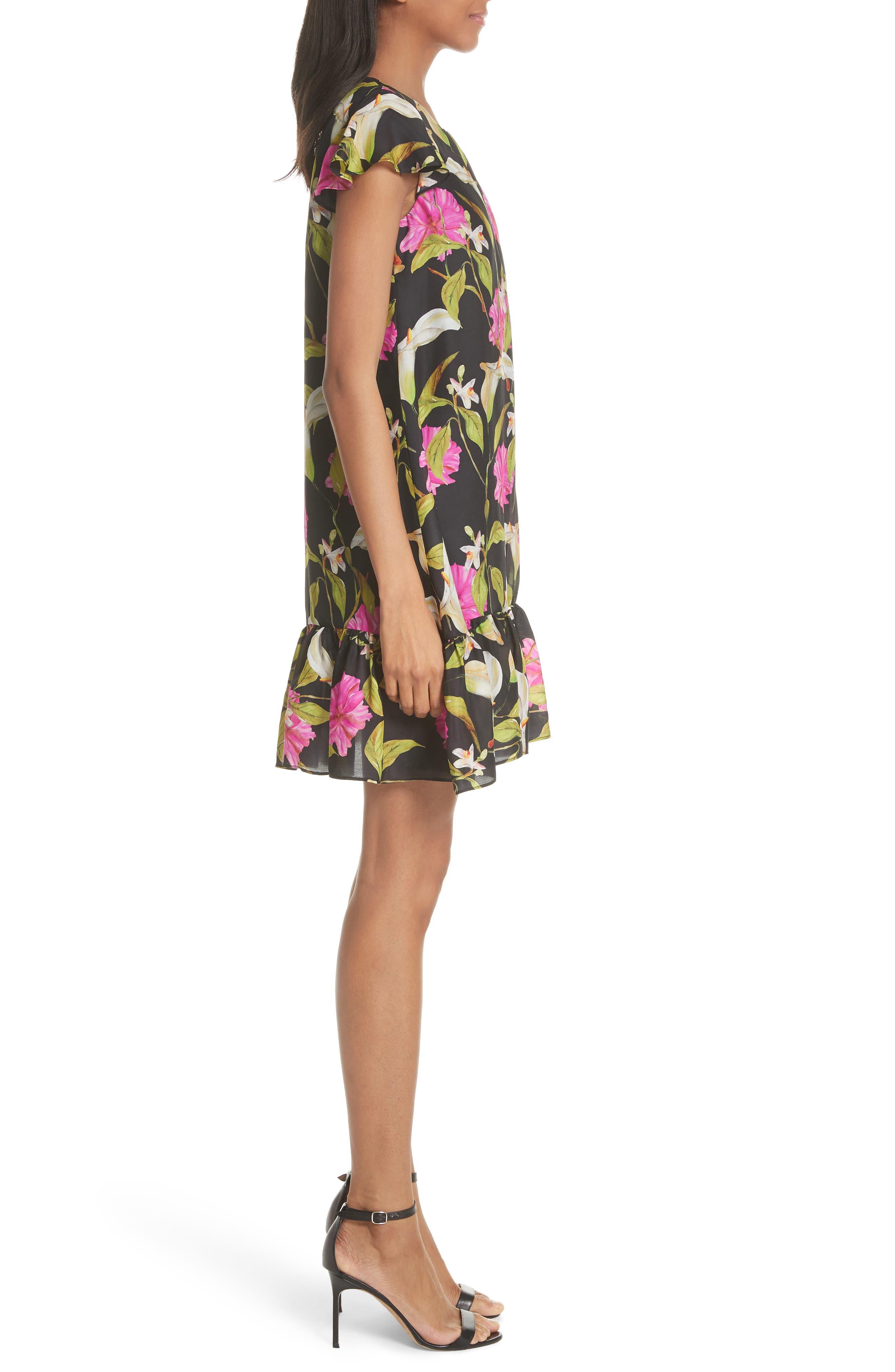 Jill Large Calla Lily Shift Dress,                             Alternate thumbnail 3, color,                             Multi