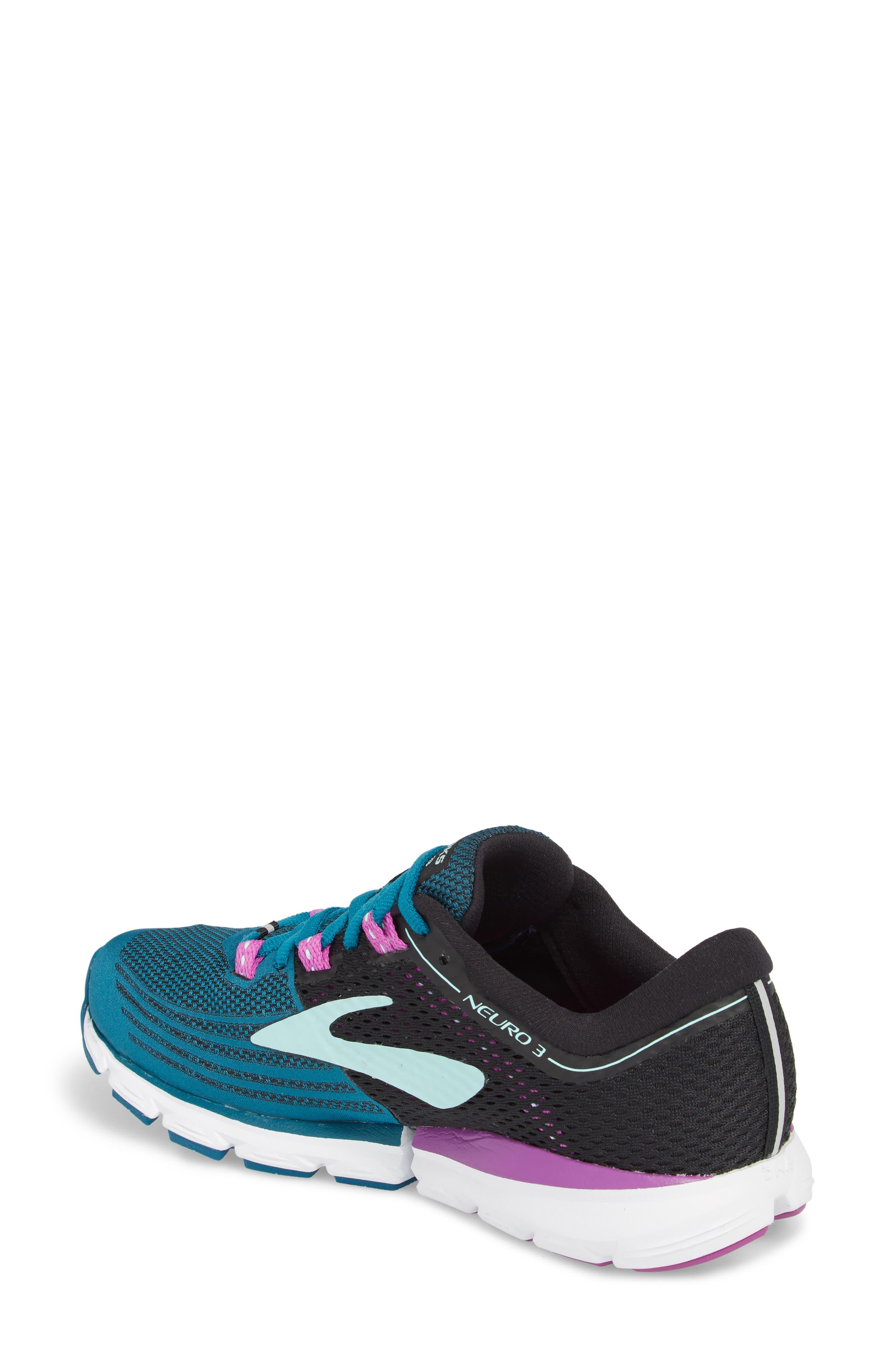 Neuro 3 Running Shoe,                             Alternate thumbnail 2, color,                             Lagoon/ Black/ Purple