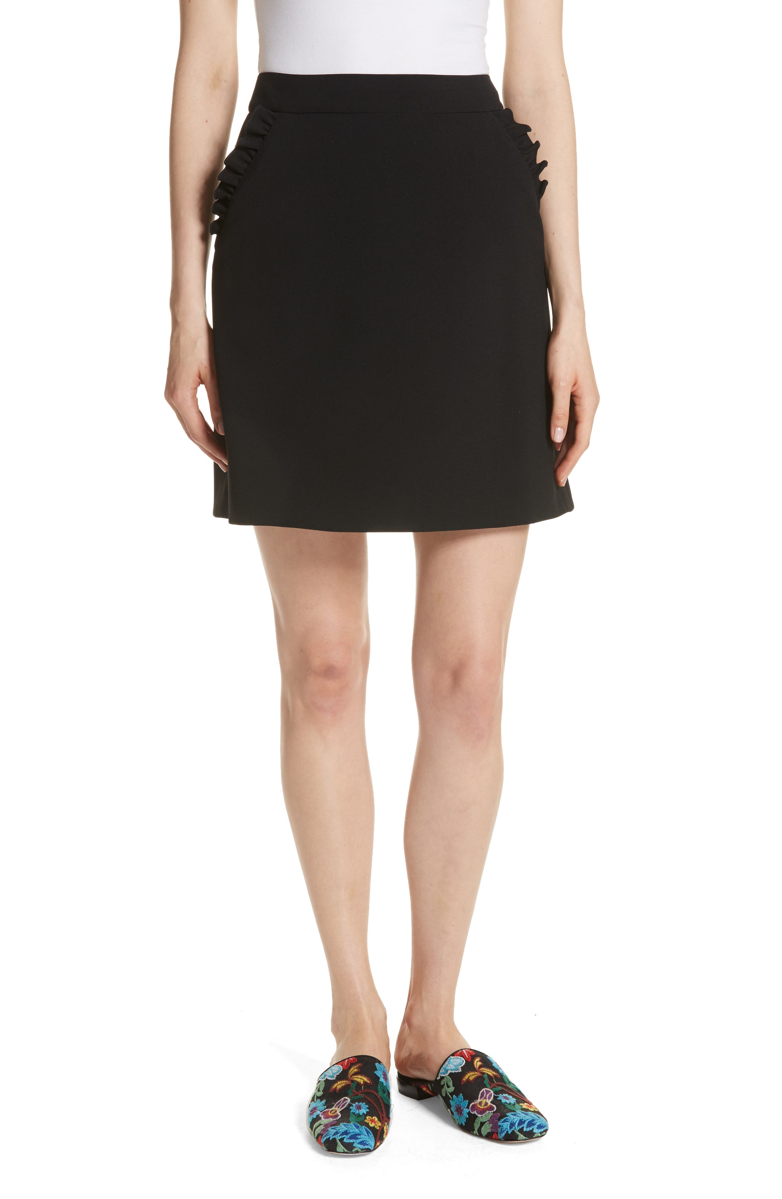 kate spade new york ruffle trim A-line skirt