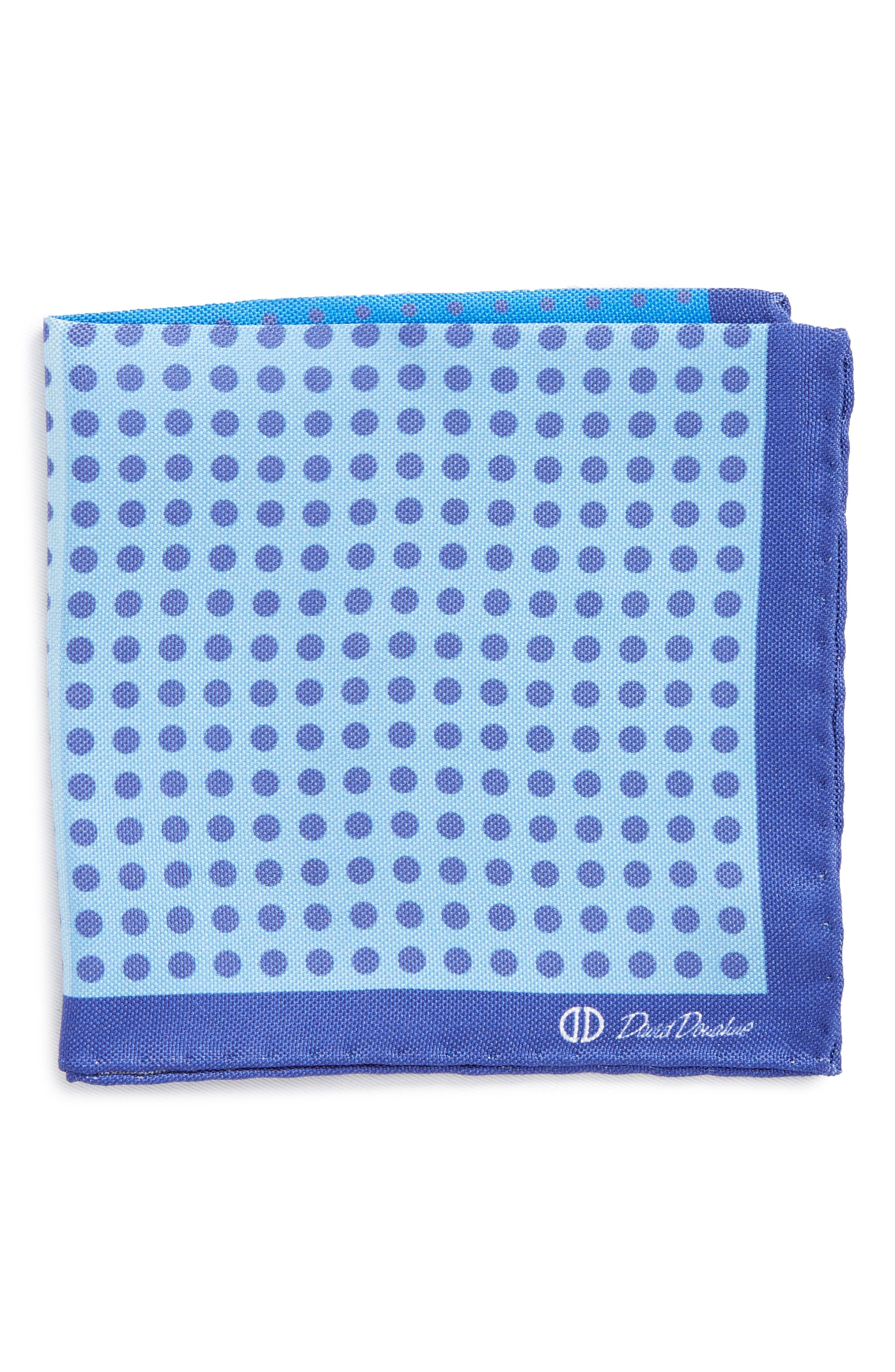 Dot Silk Pocket Square,                         Main,                         color, Blue