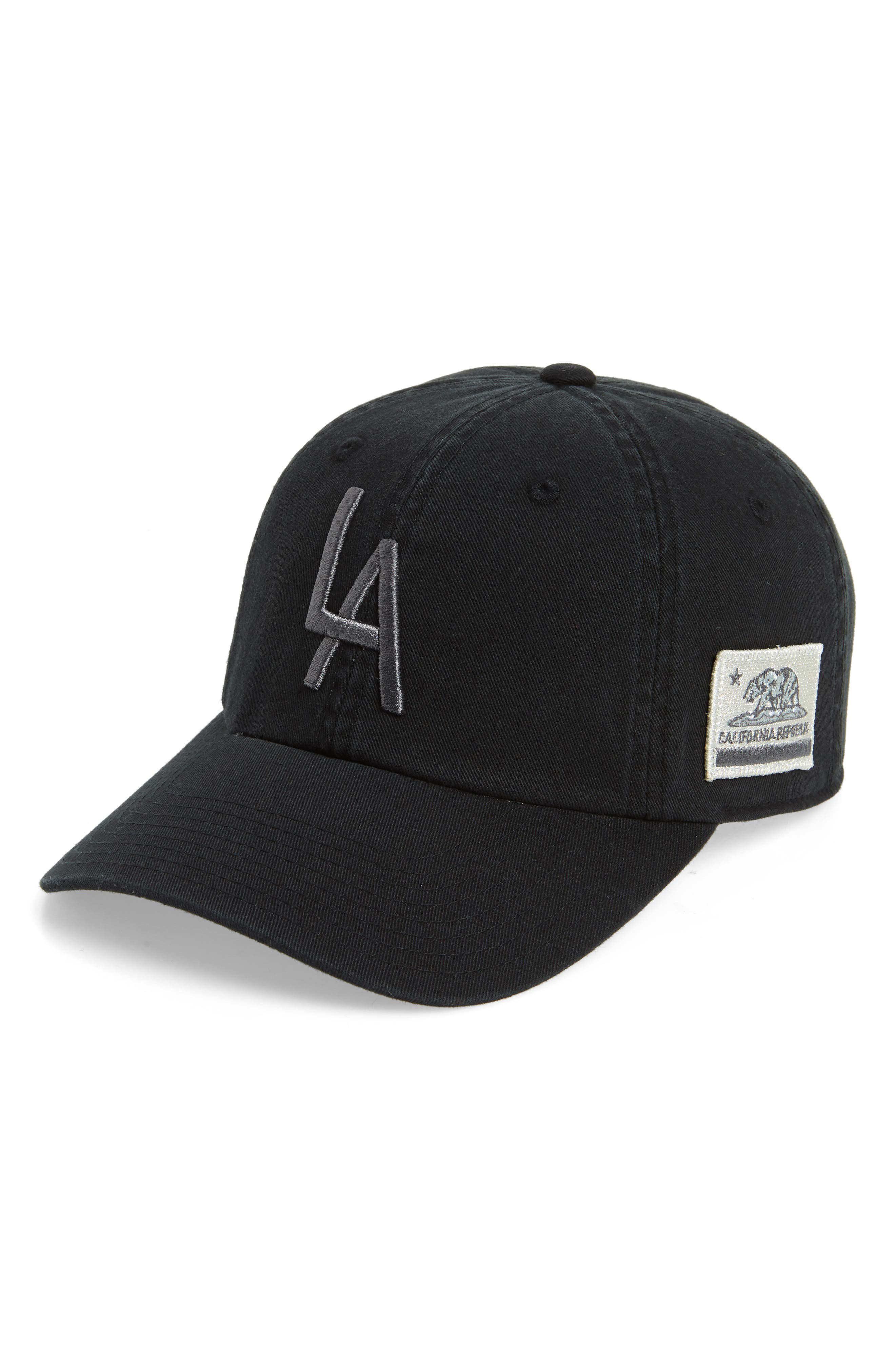 United Slouch Los Angeles Ball Cap,                         Main,                         color, Ivory/ Black