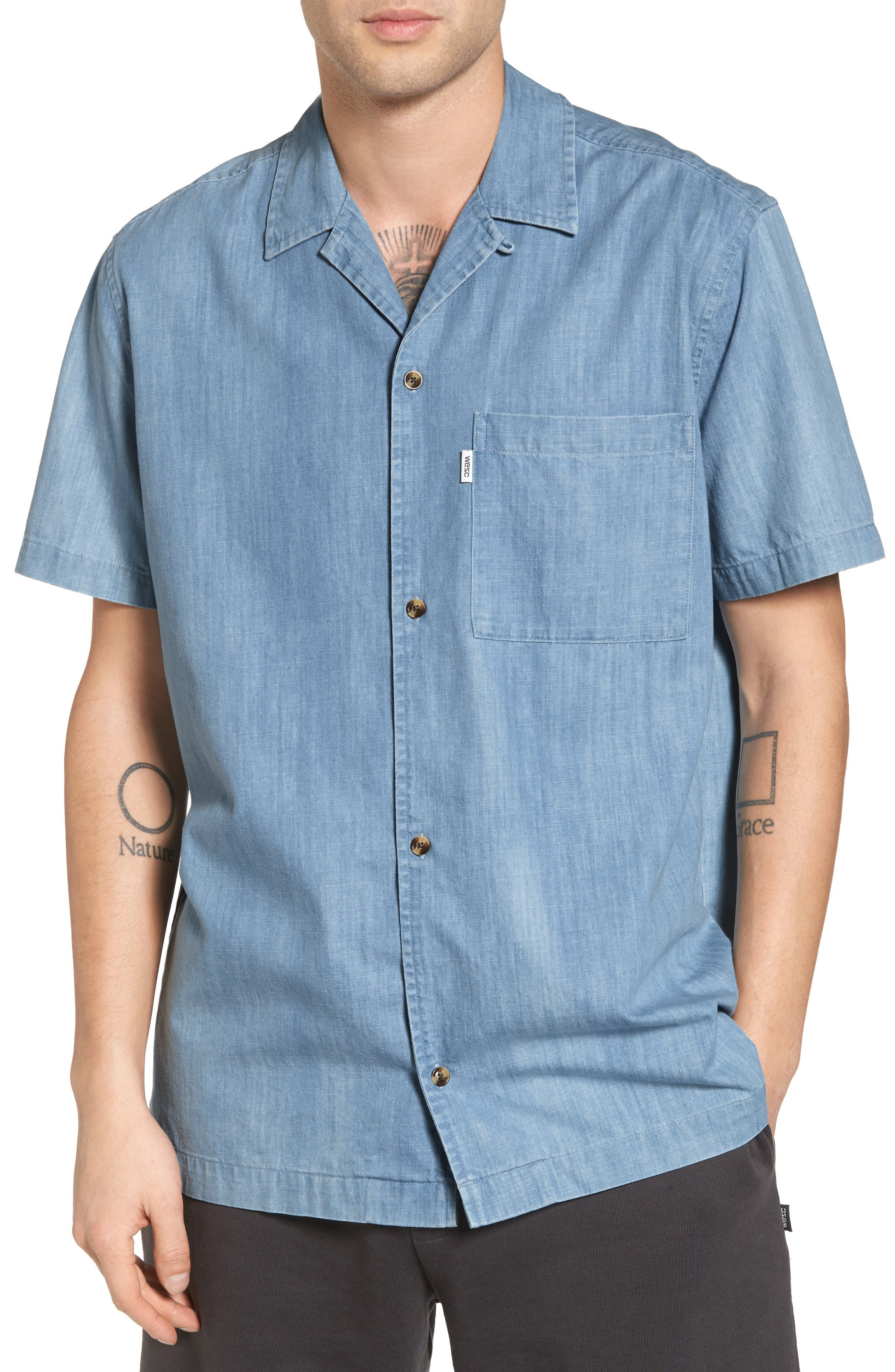 Nevin Short Sleeve Denim Shirt,                             Main thumbnail 1, color,                             Polar Blue