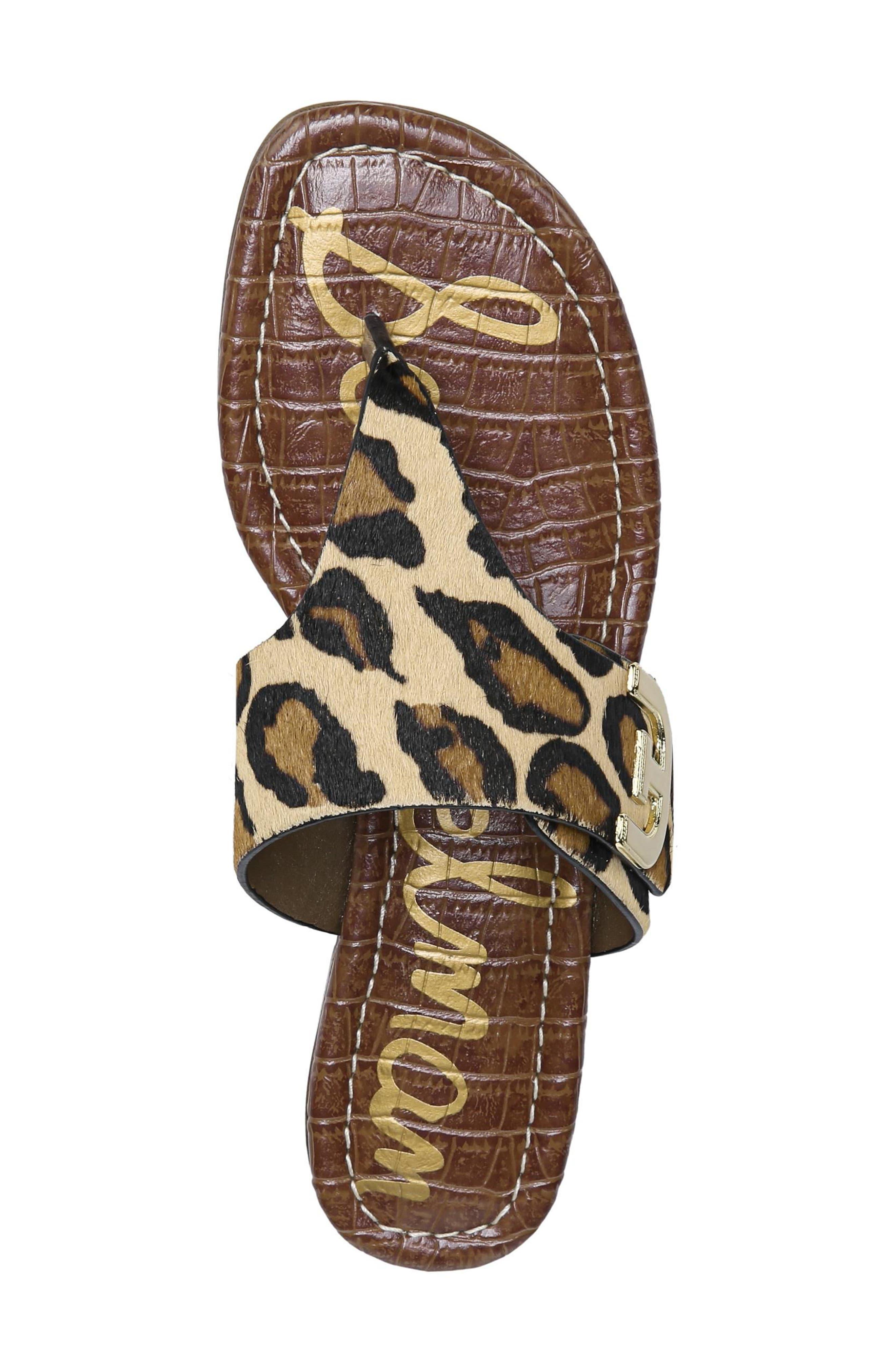 Barry Genuine Calf Hair V-Strap Sandal,                             Alternate thumbnail 5, color,                             New Nude Leopard Brahma Hair