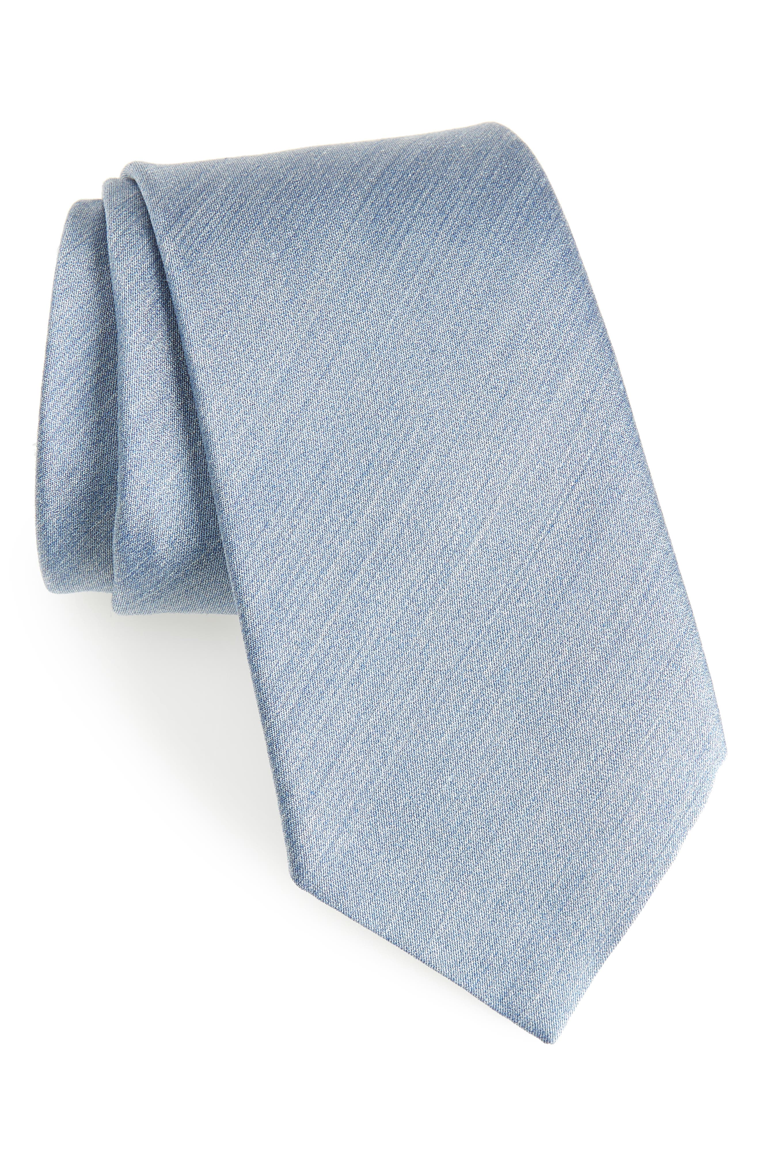 Solid Silk Tie,                         Main,                         color, Blue