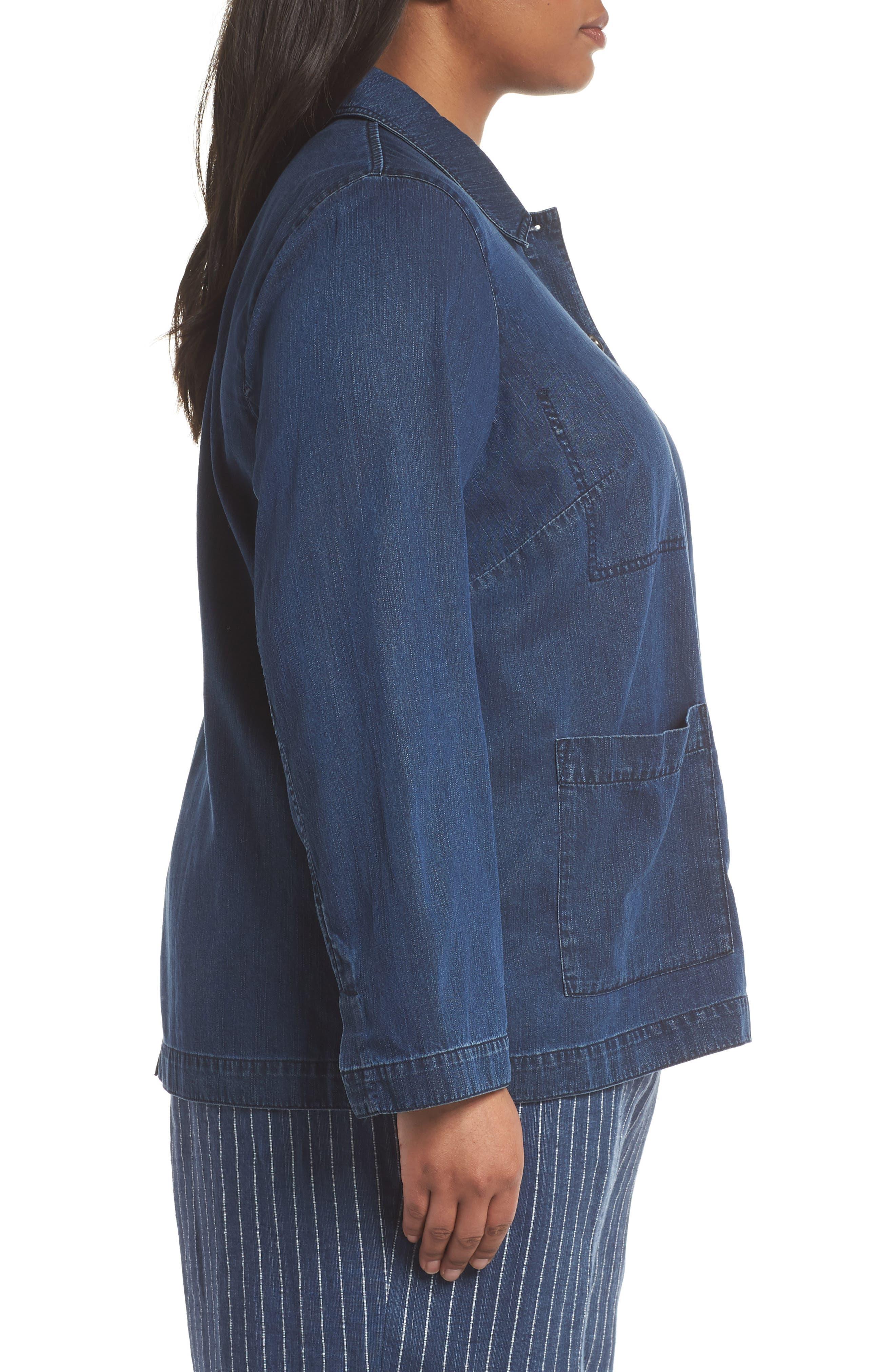 Classic Collar Cotton Blend Jacket,                             Alternate thumbnail 3, color,                             Midnight