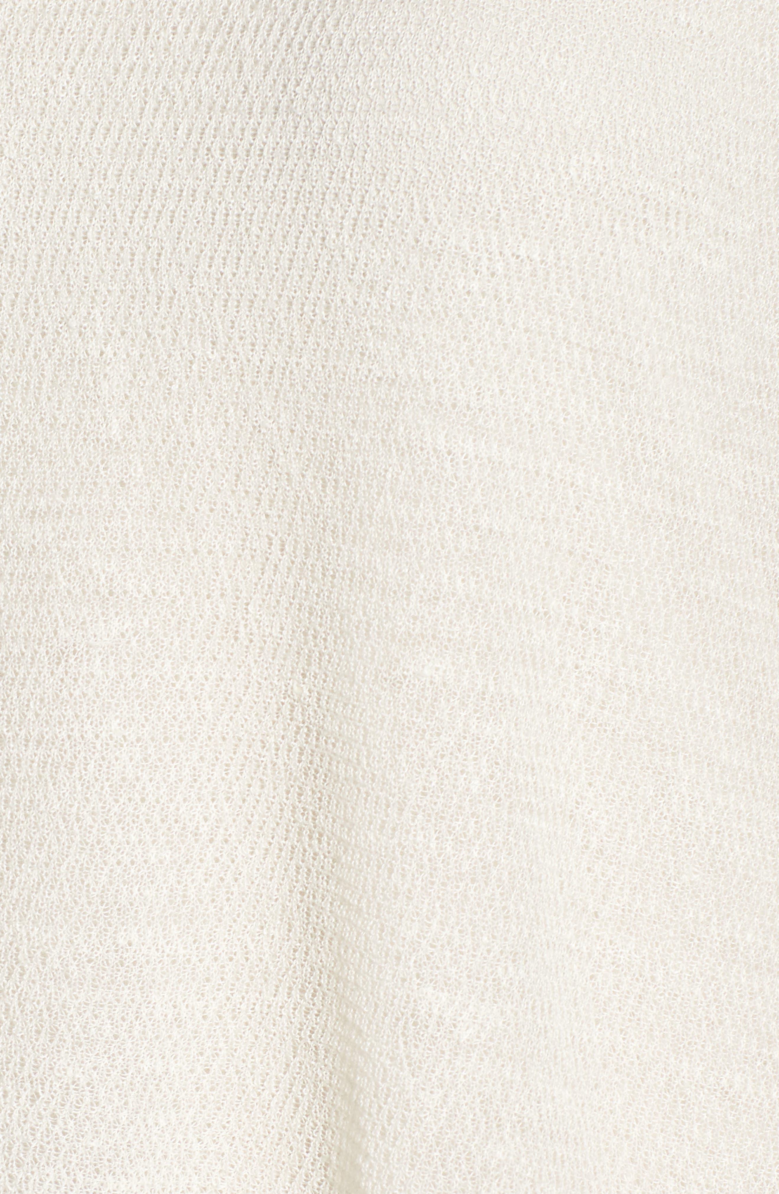 Sheer Asymmetrical Cap Sleeve Sweater,                             Alternate thumbnail 5, color,                             Bone