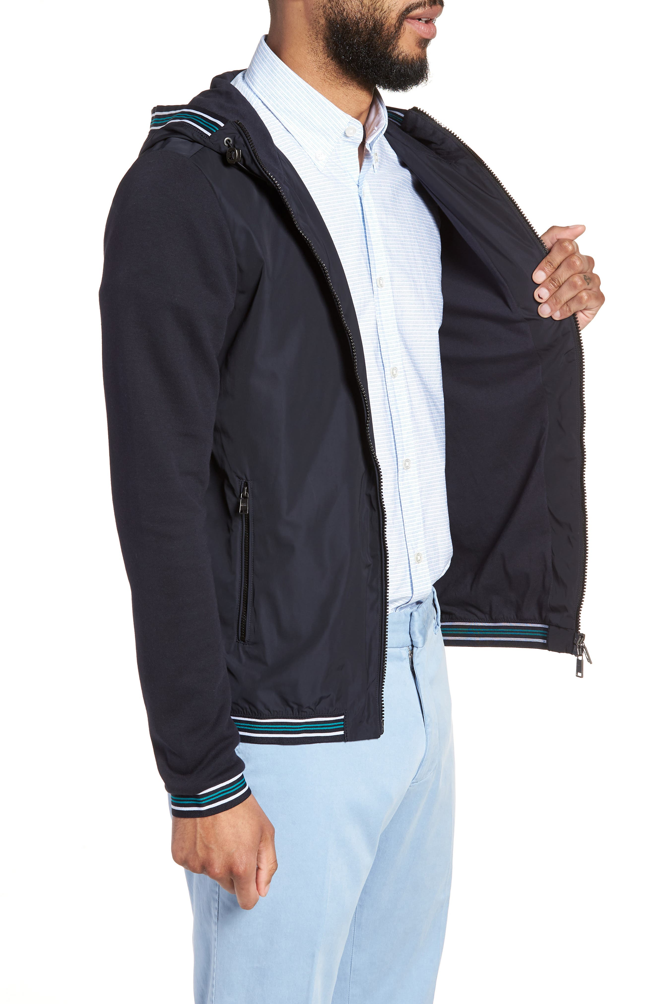 Sibly Slim Fit Jersey Hooded Jacket,                             Alternate thumbnail 3, color,                             Blue