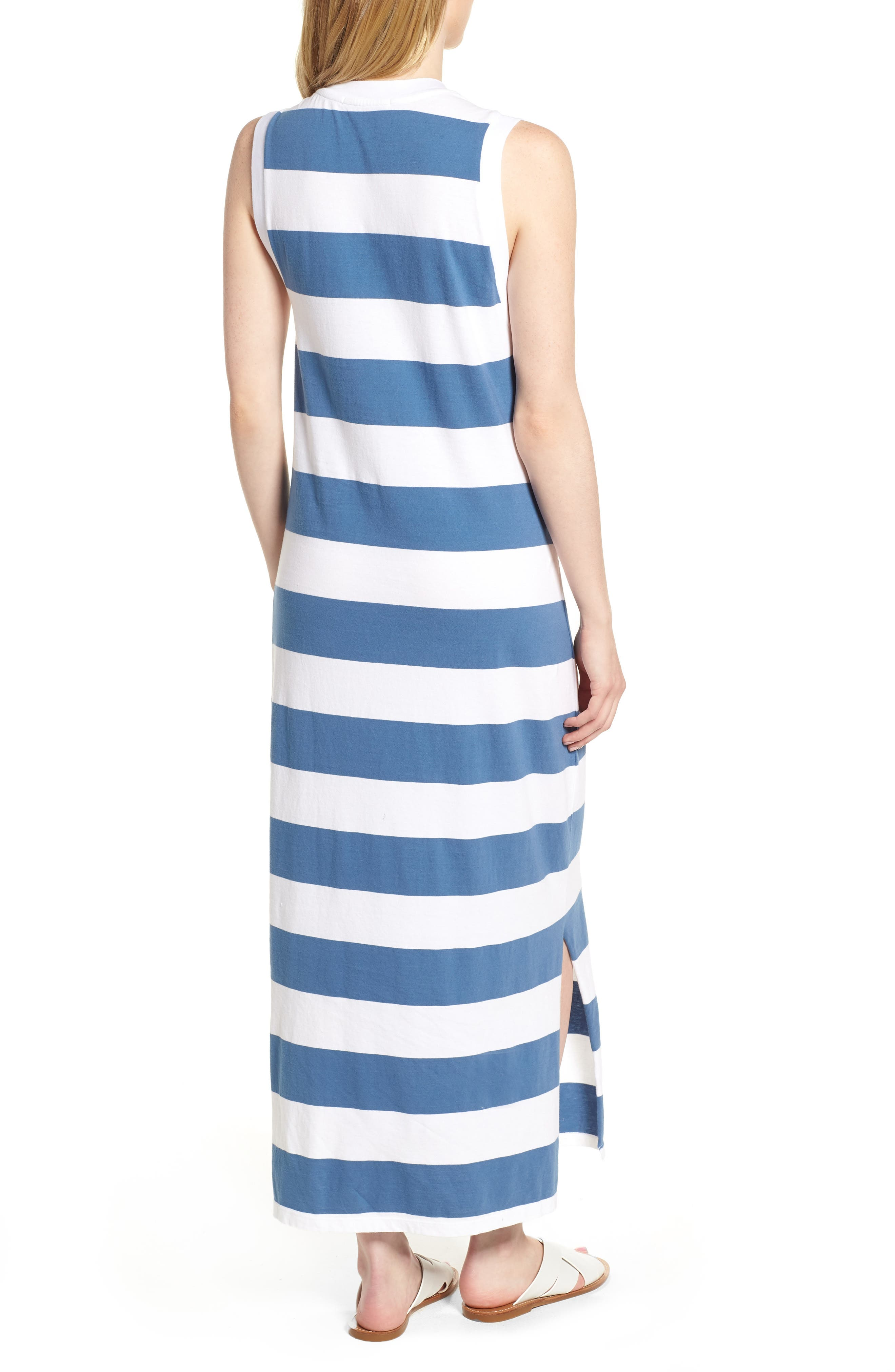 Rugby Stripe Maxi Dress,                             Alternate thumbnail 2, color,                             White/ Blue