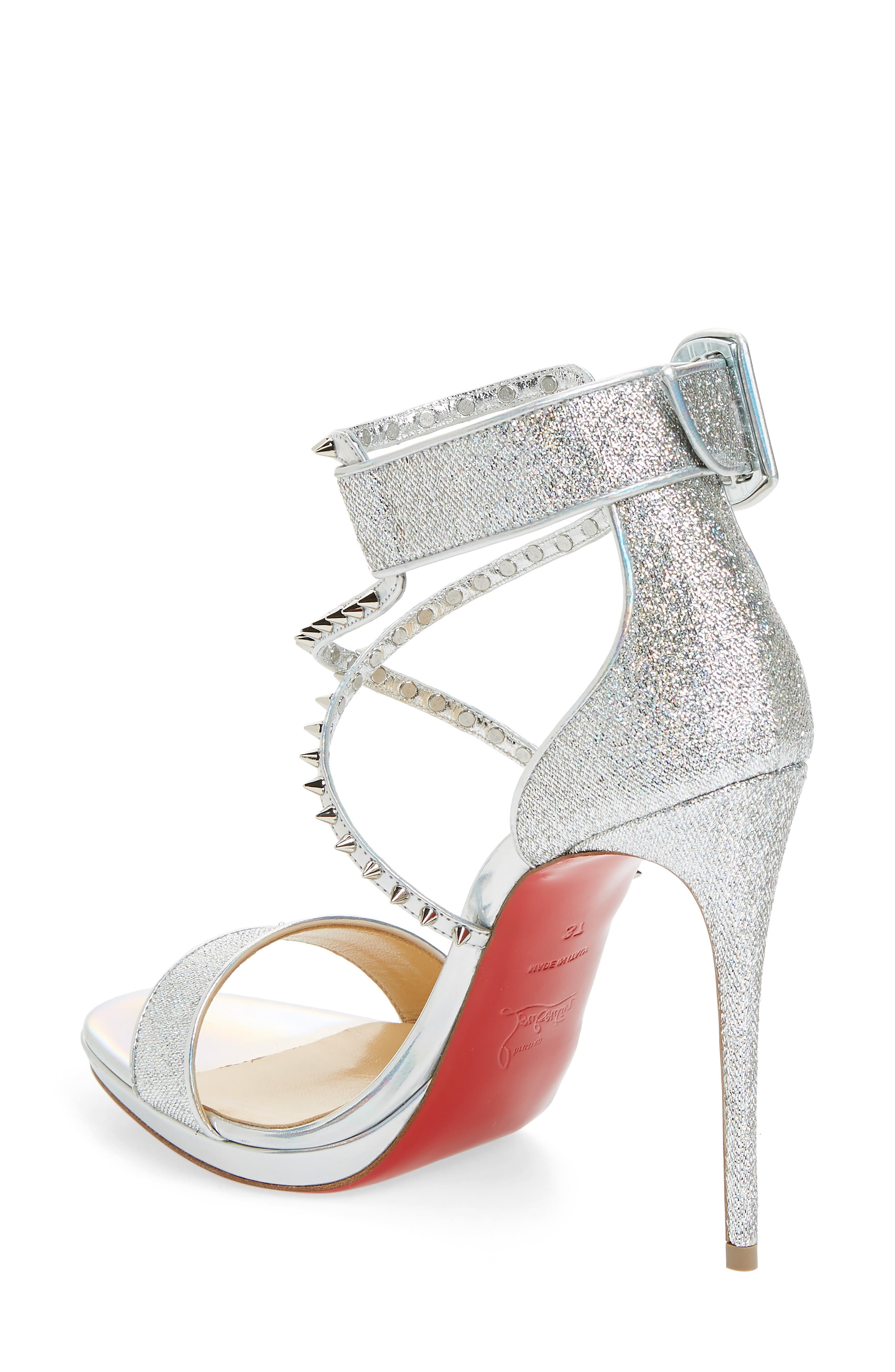 Choca Lux Spiked Sandal,                             Alternate thumbnail 2, color,                             Silver