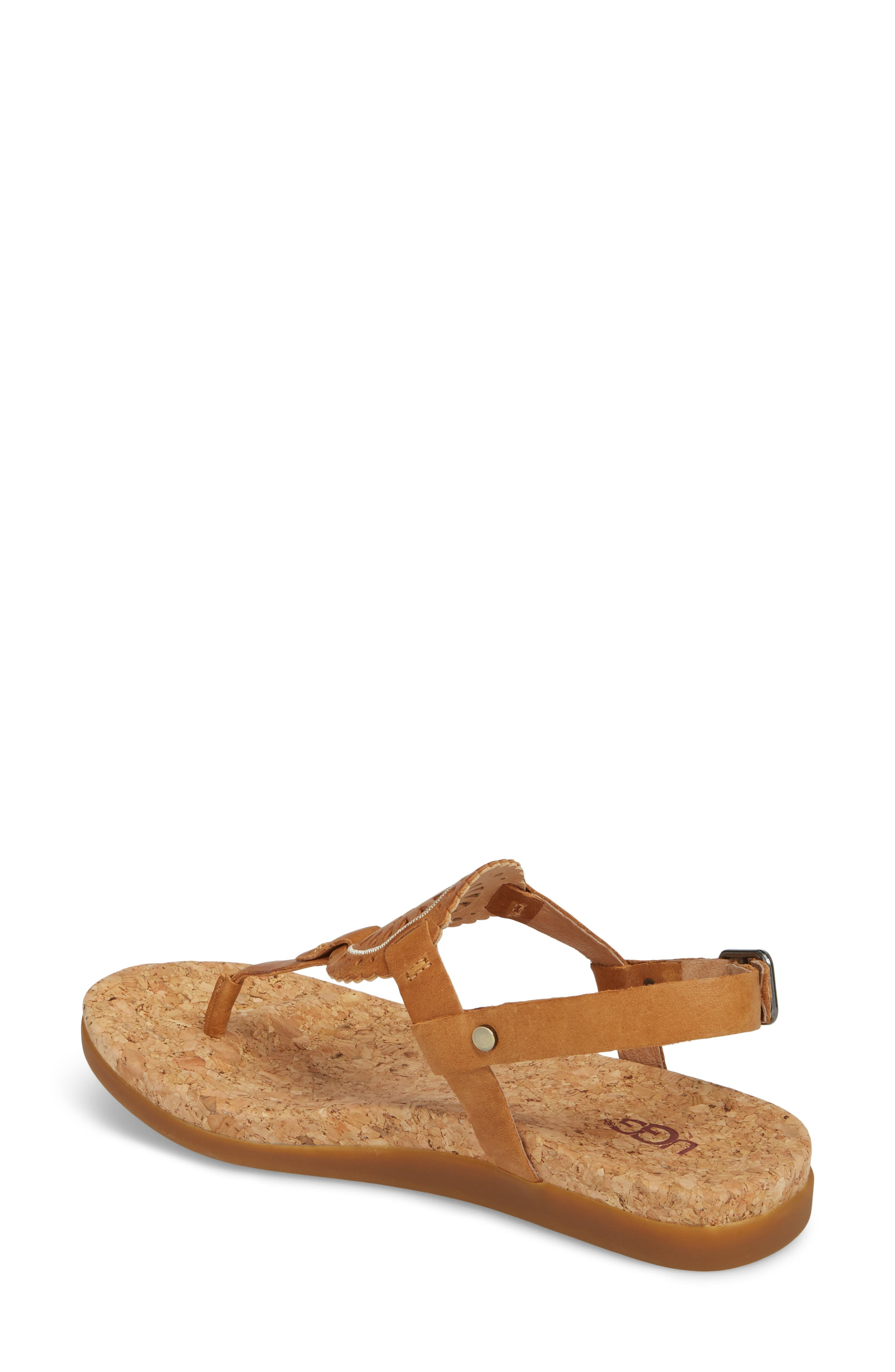 Ayden II T-Strap Sandal,                             Alternate thumbnail 2, color,                             Almond Leather