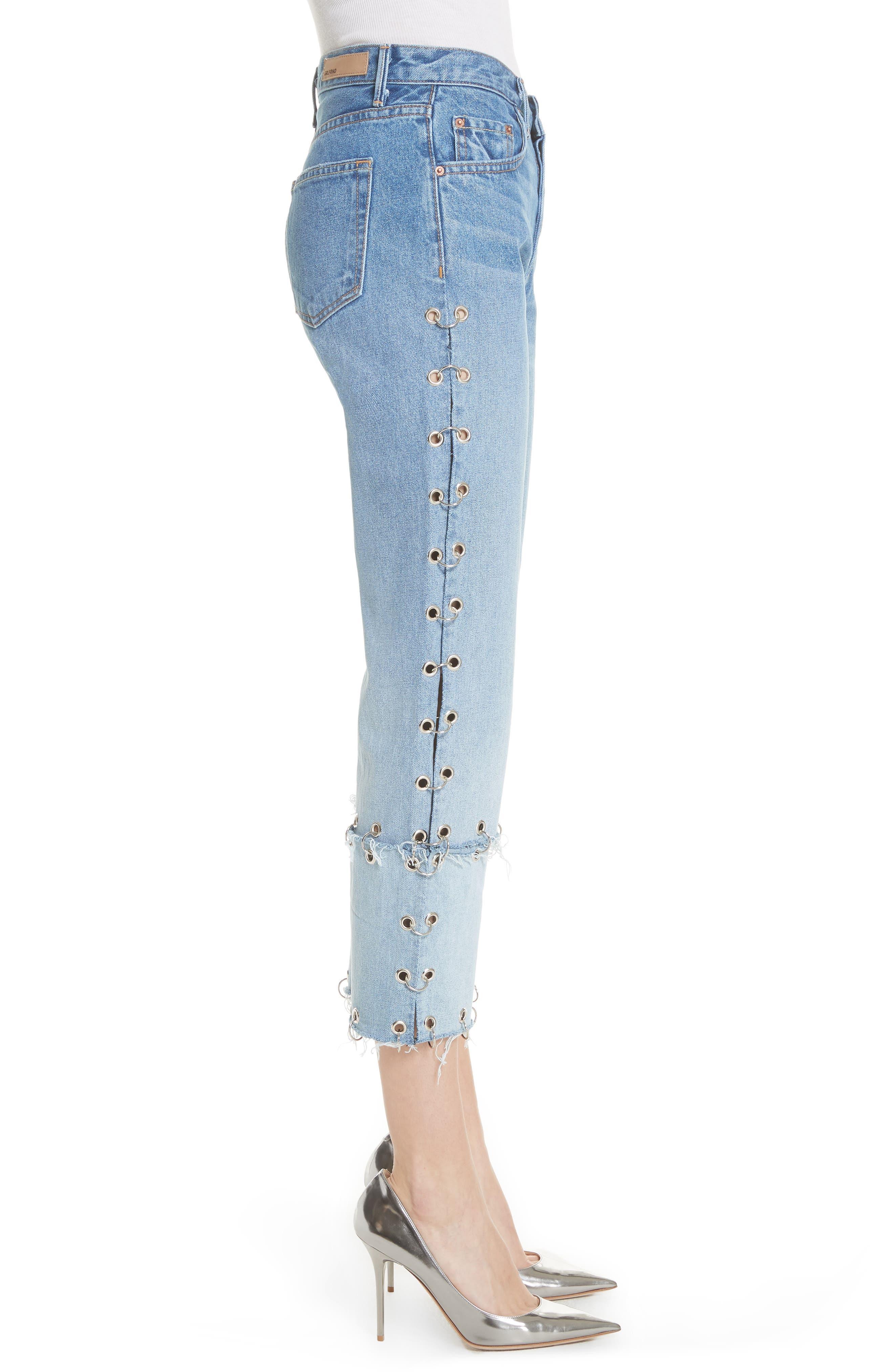 Helena Grommet Detail Straight Leg Crop Jeans,                             Alternate thumbnail 3, color,                             Blue