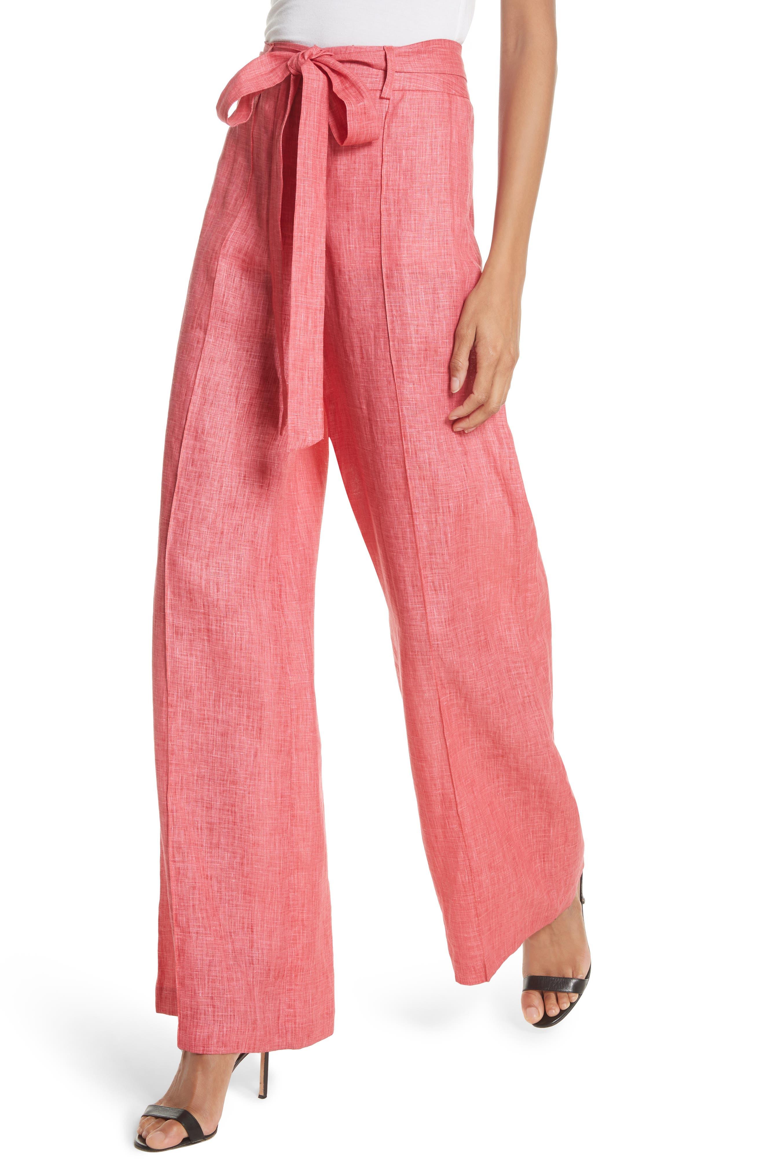 Hayden Belted Wide Leg Italian Linen Pants,                             Alternate thumbnail 4, color,                             Poppy