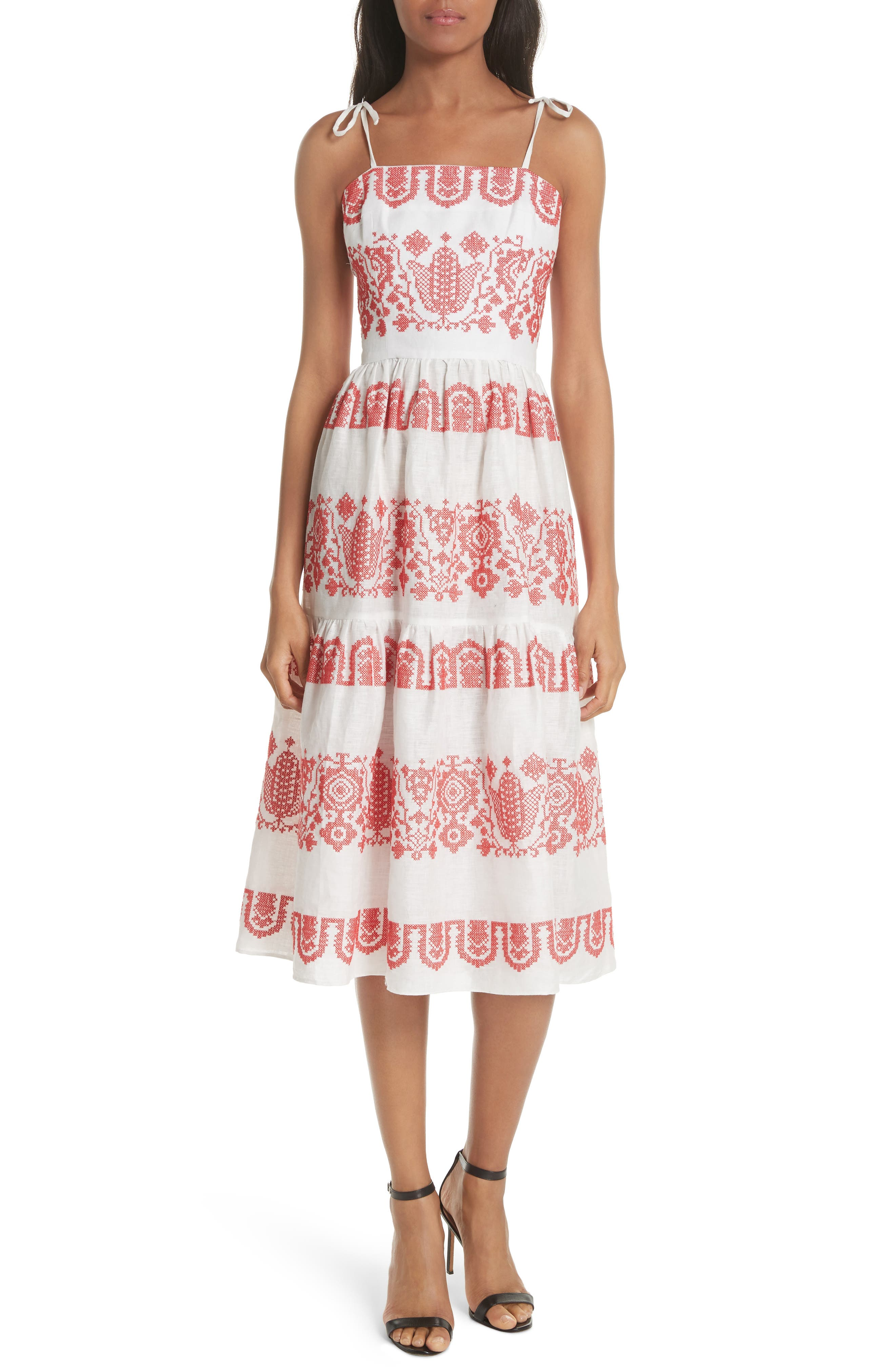 Milly Mykonos Embroidered Linen Sundress