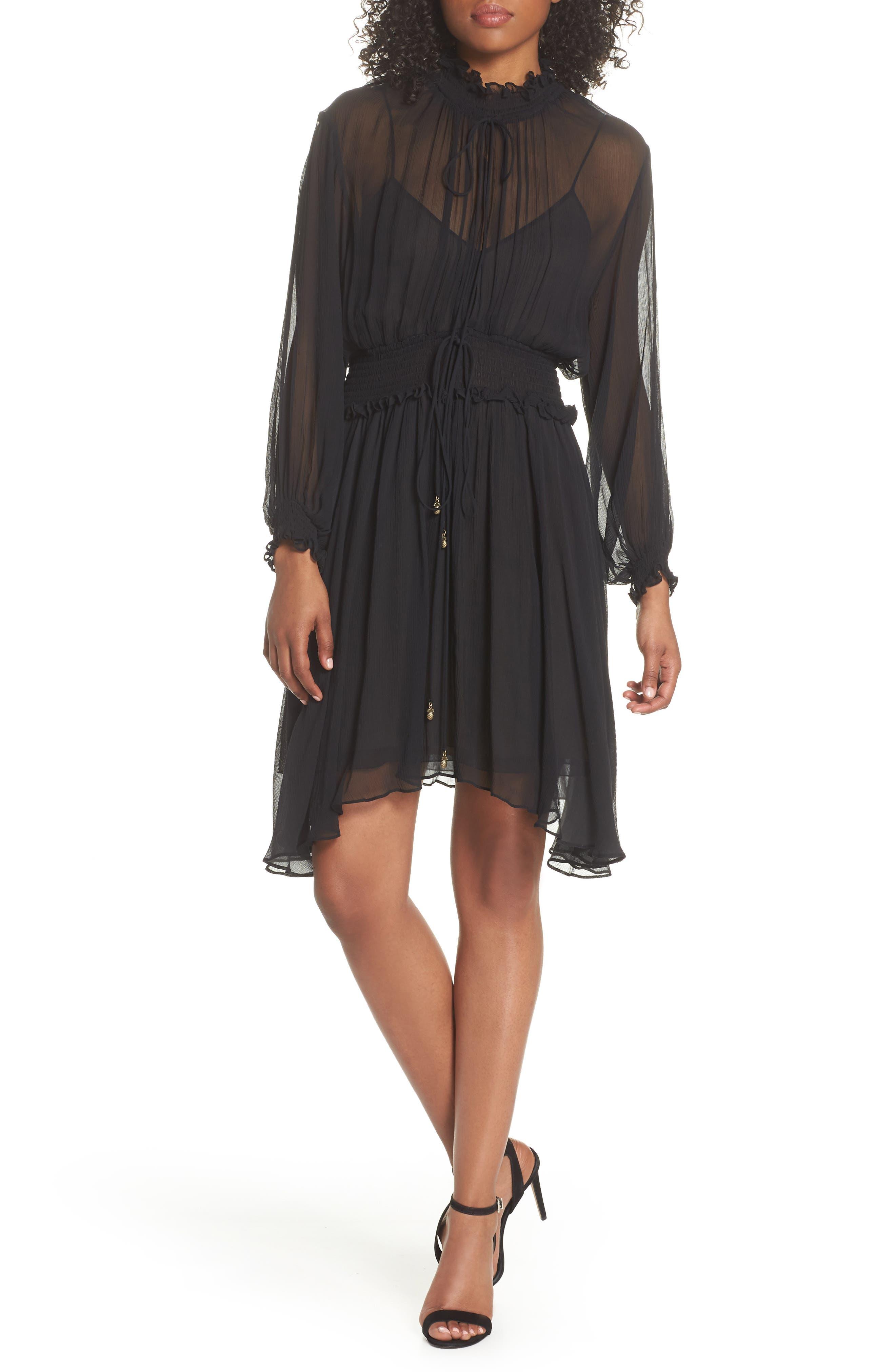 Classic Smocked Chiffon Dress,                             Main thumbnail 1, color,                             Black