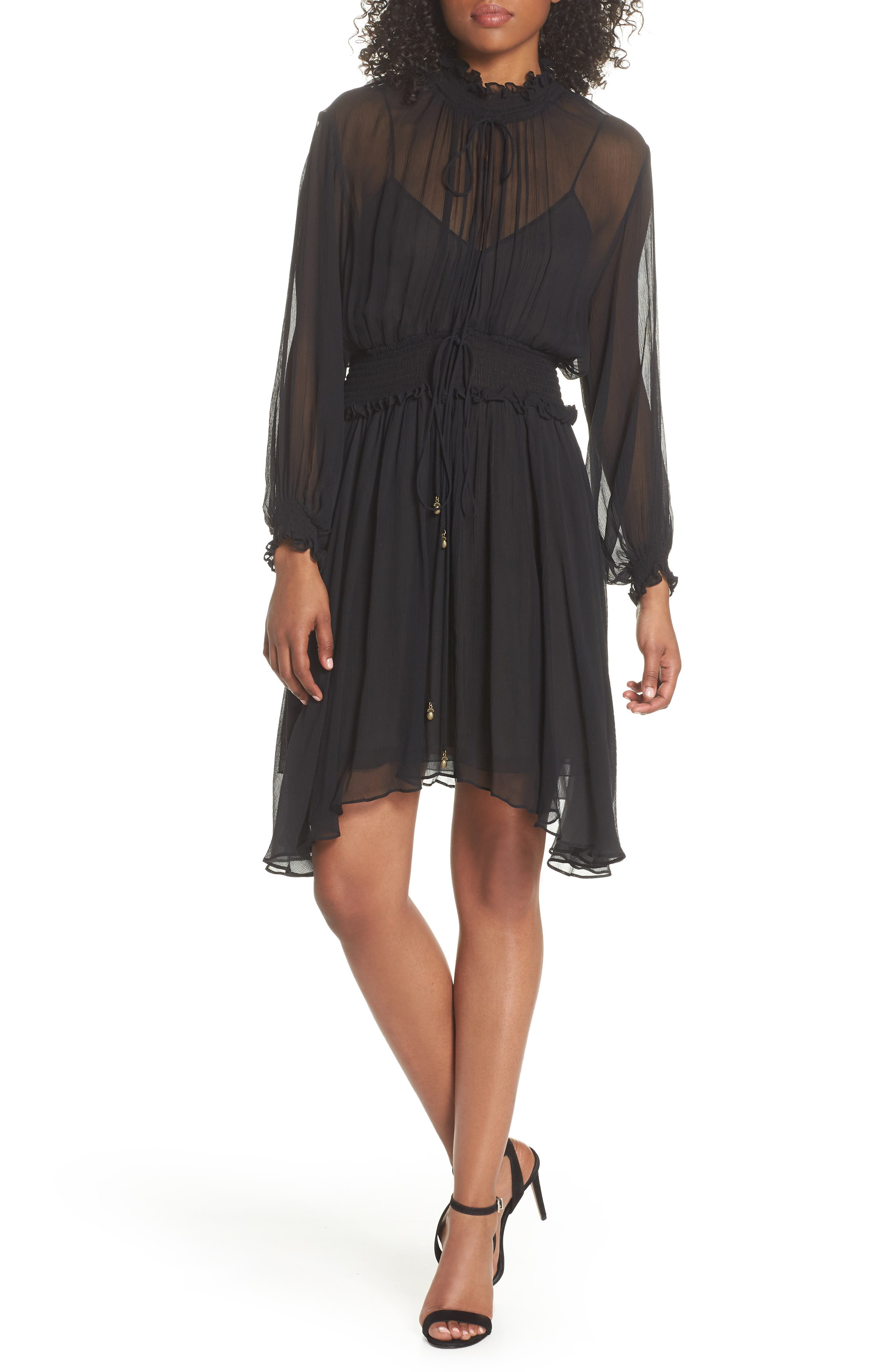 Classic Smocked Chiffon Dress,                         Main,                         color, Black