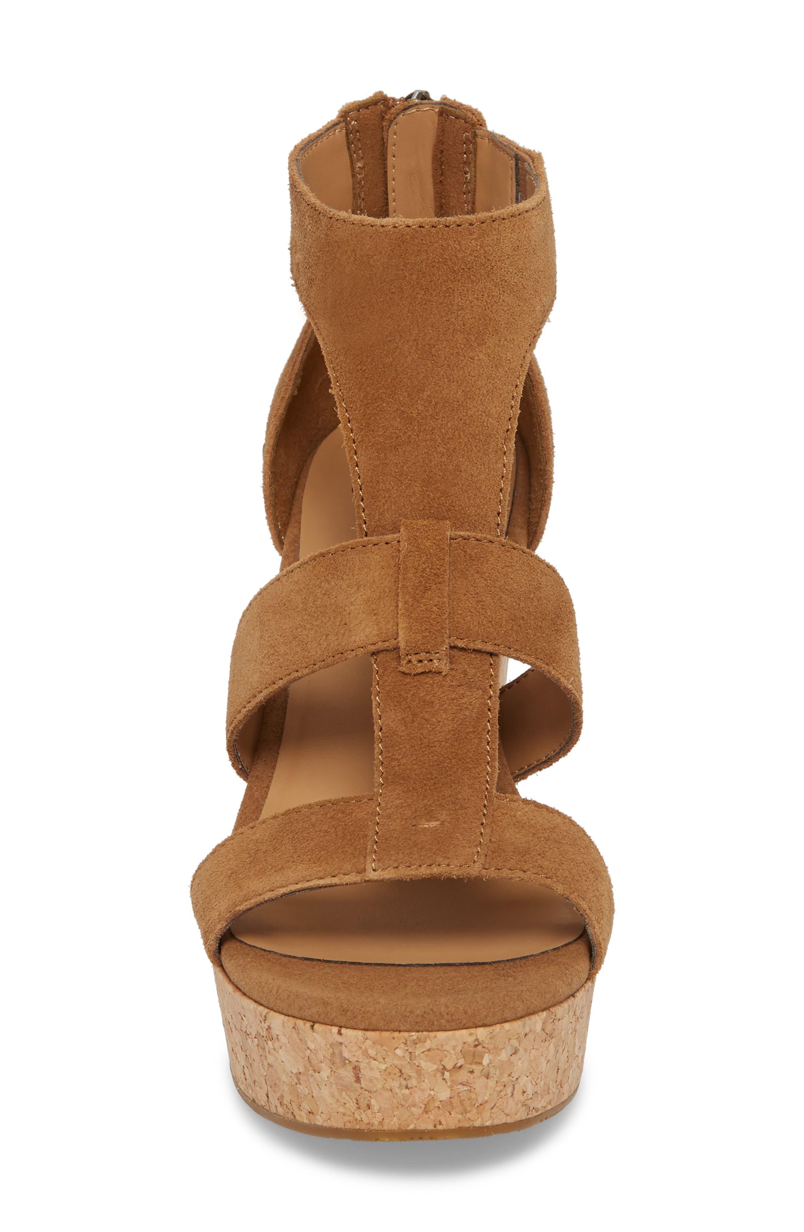 Whitney Platform Wedge Sandal,                             Alternate thumbnail 4, color,                             Chestnut