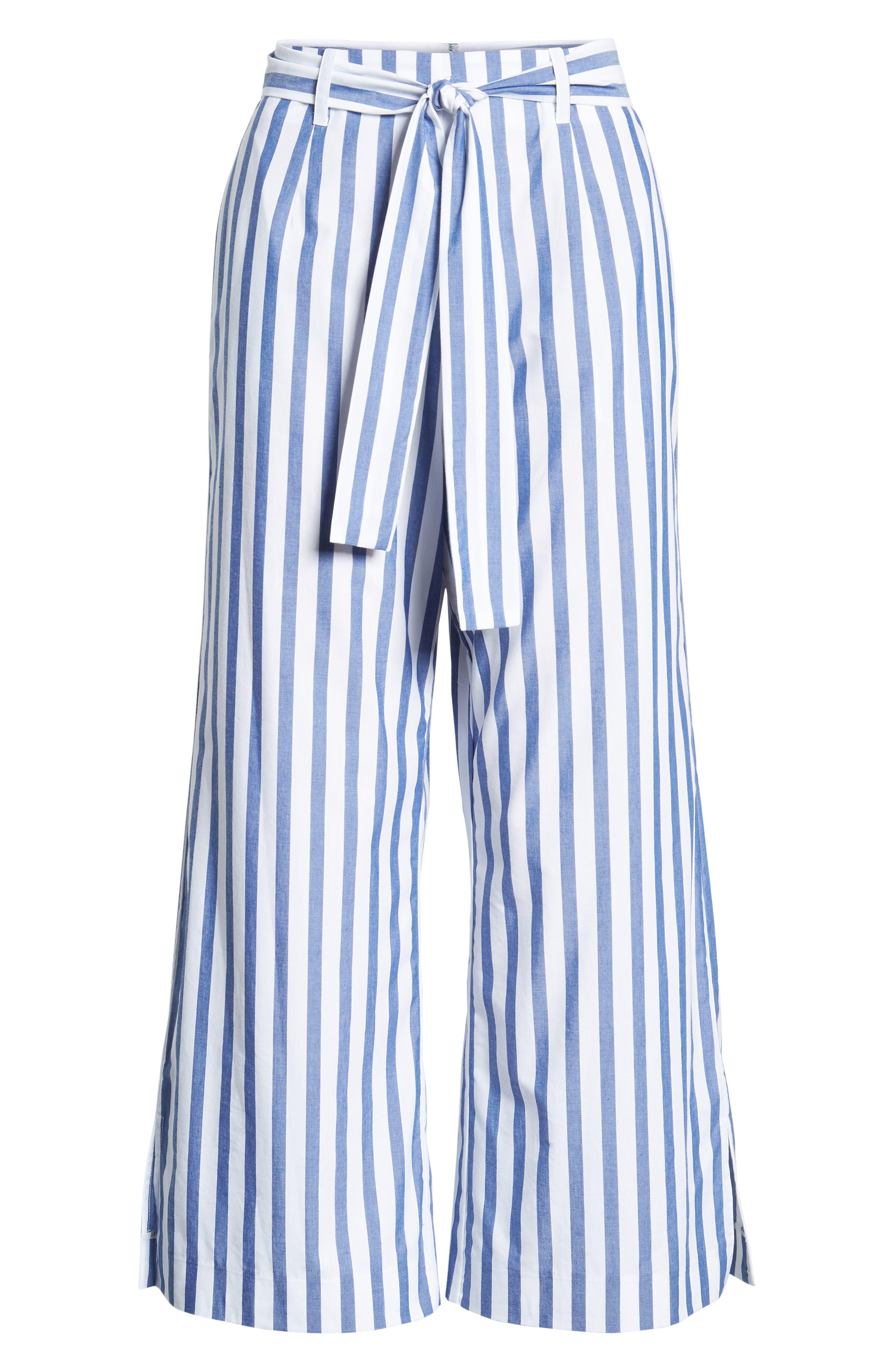 Aversa Crop Wide Leg Pants,                             Alternate thumbnail 7, color,                             Navy Stripe