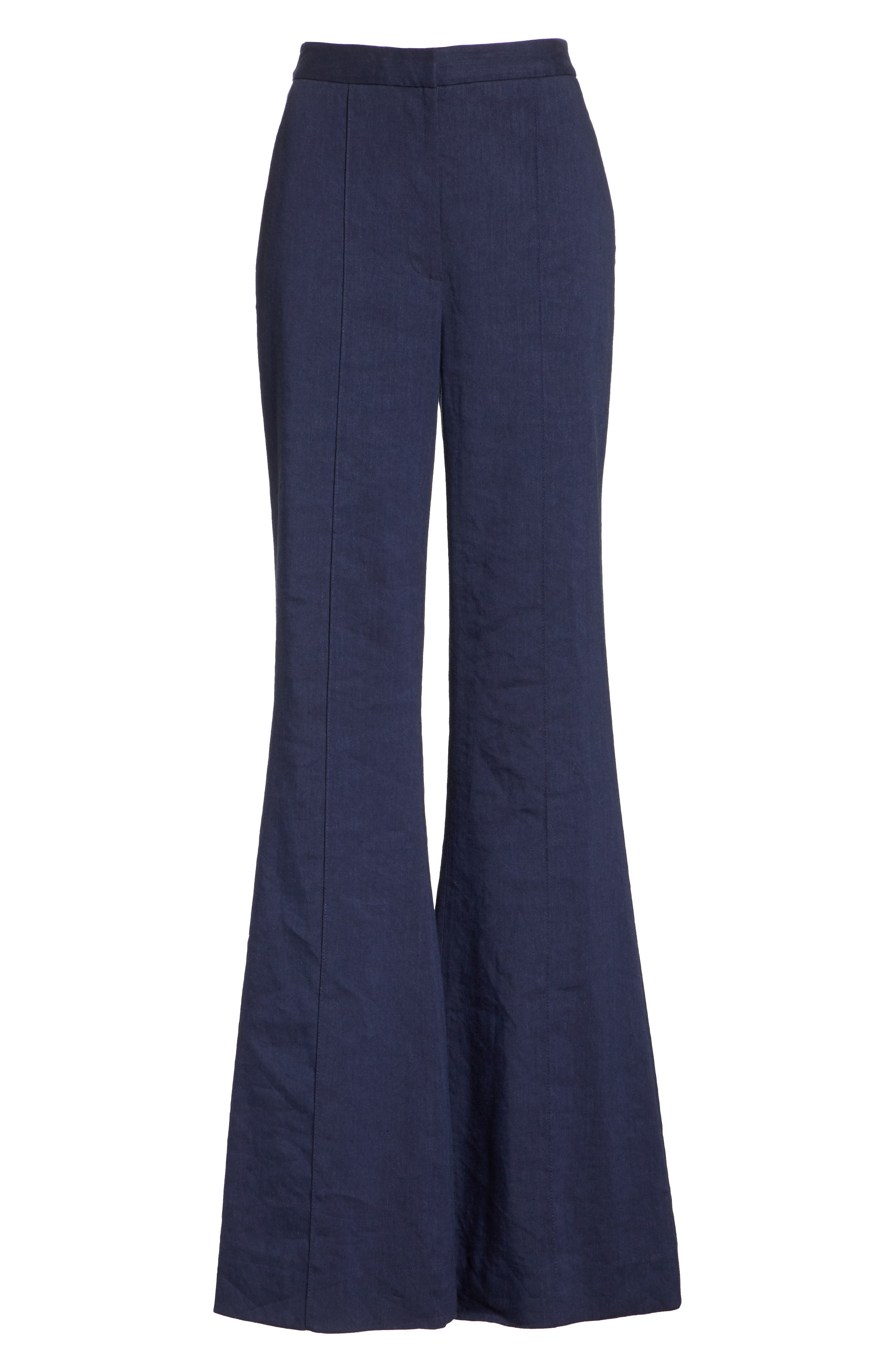 Diane von Furstenberg Pleat Front Flare Stretch Linen Blend Pants,                             Alternate thumbnail 6, color,                             New Navy