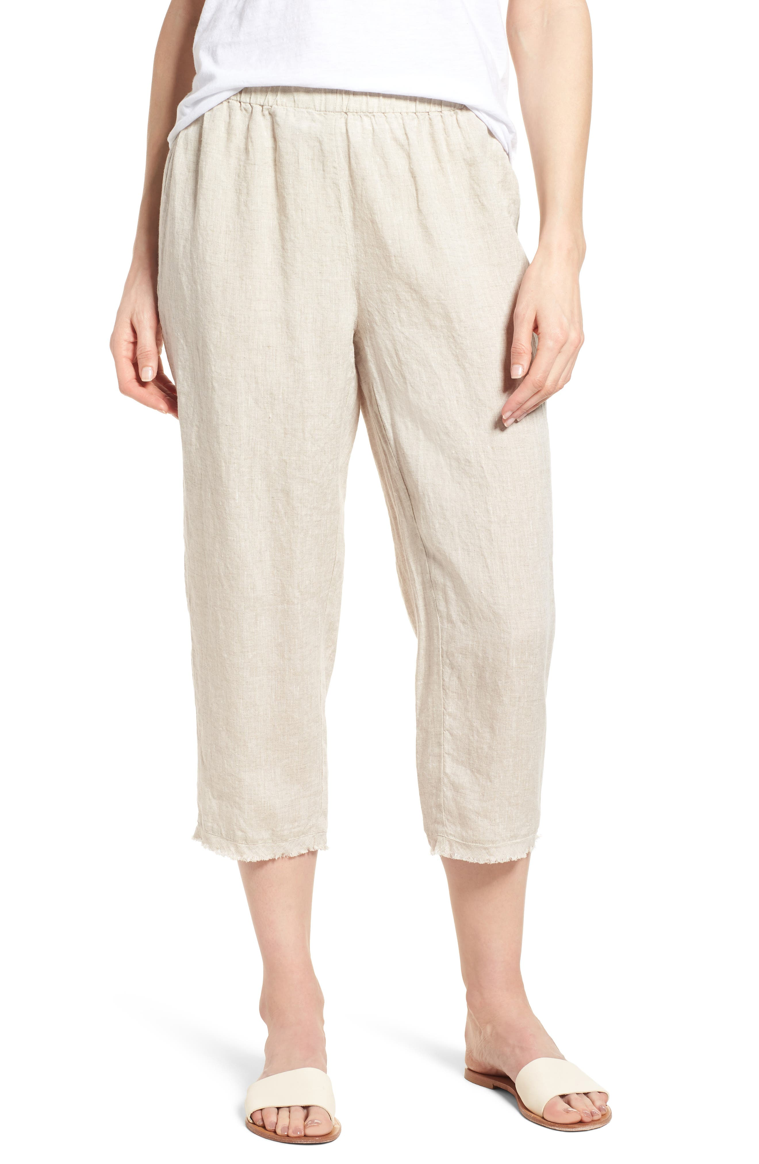 Crop Straight Leg Linen Pants,                         Main,                         color, Natural