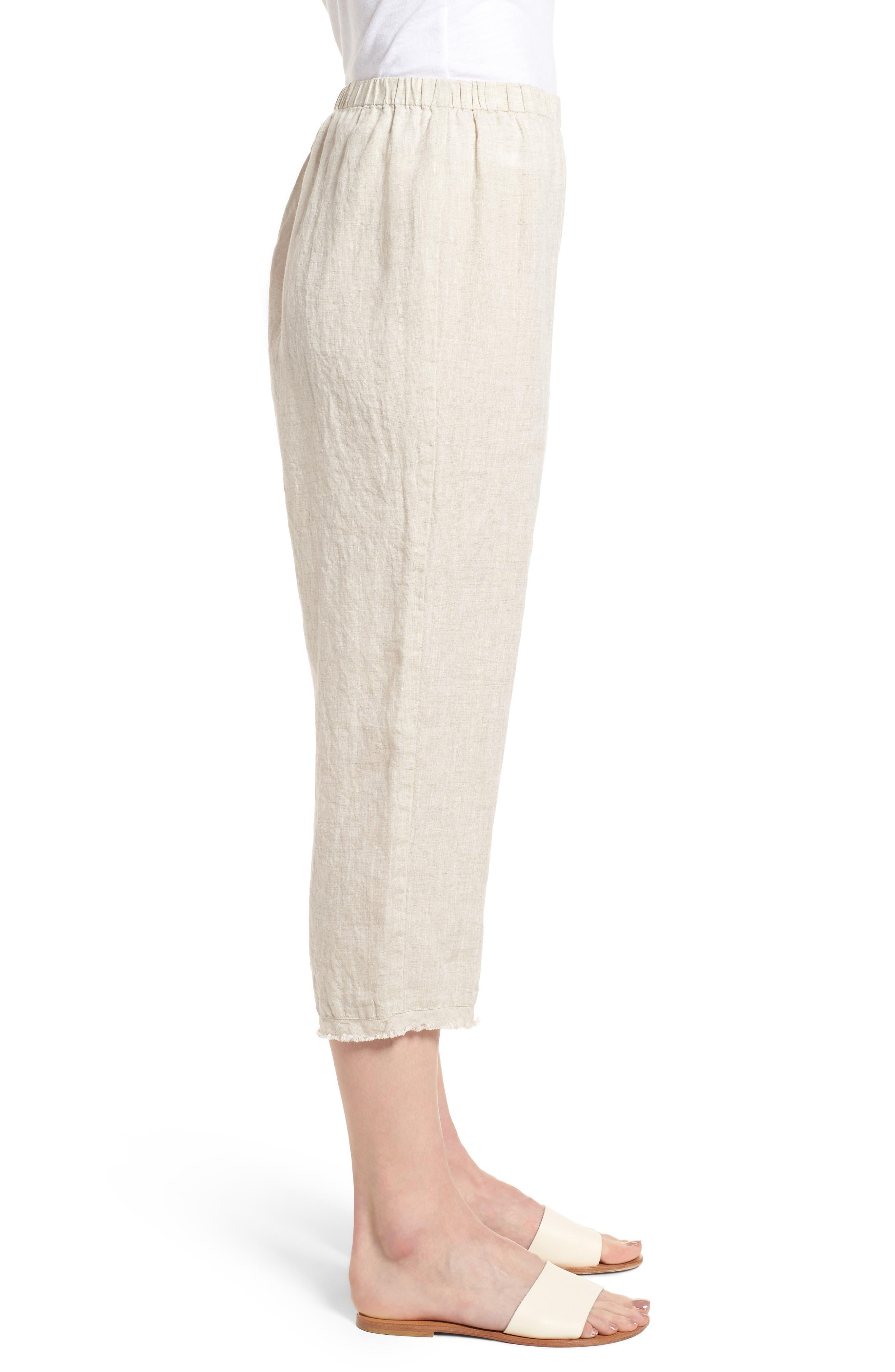 Crop Straight Leg Linen Pants,                             Alternate thumbnail 3, color,                             Natural