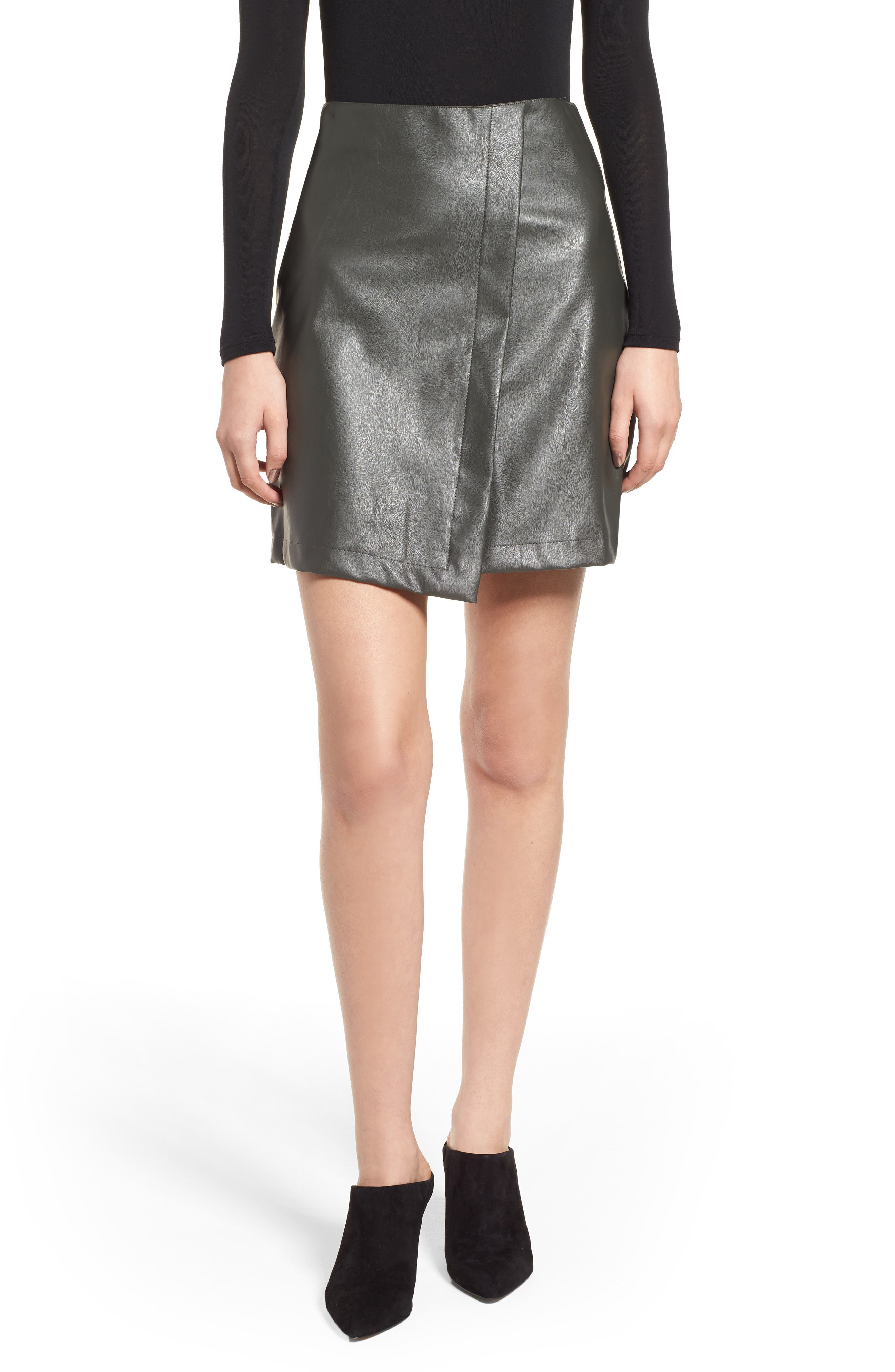 Bishop + Young A-Line Faux Leather Miniskirt,                             Main thumbnail 1, color,                             Olive