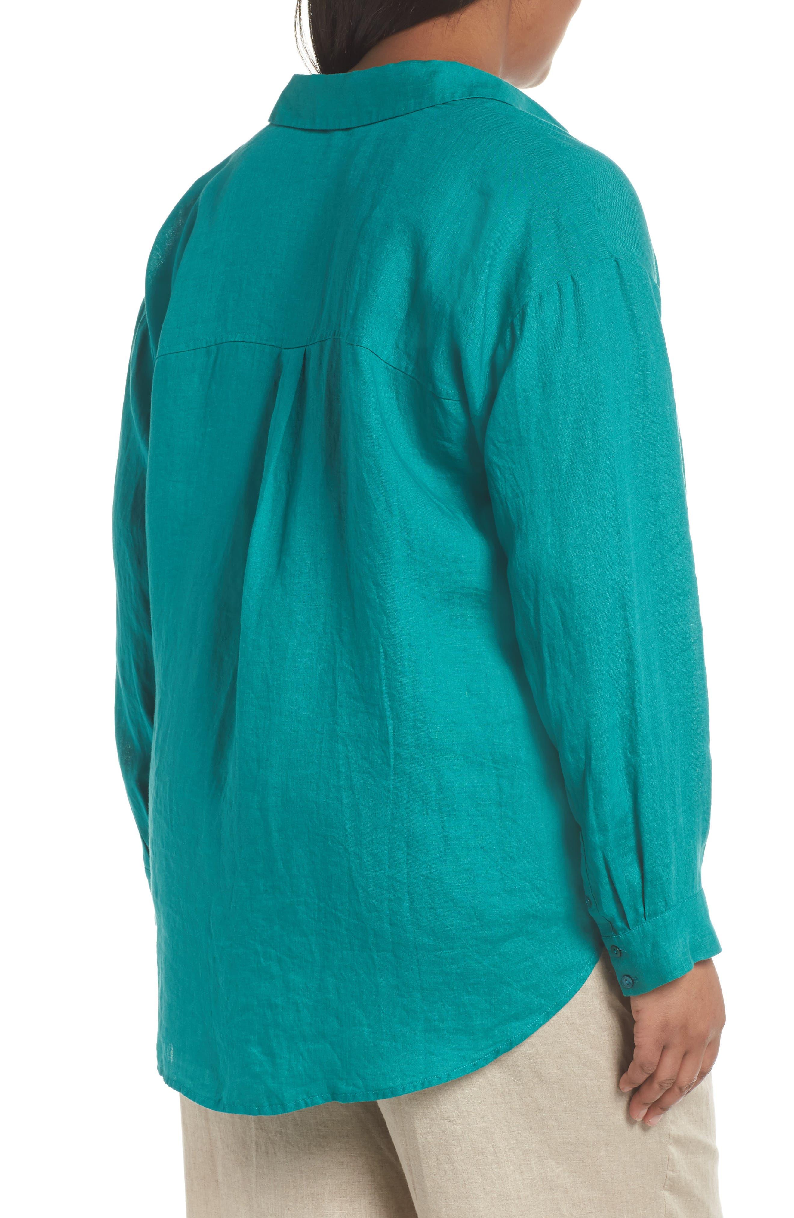 Organic Linen Shirt,                             Alternate thumbnail 2, color,                             Turquoise