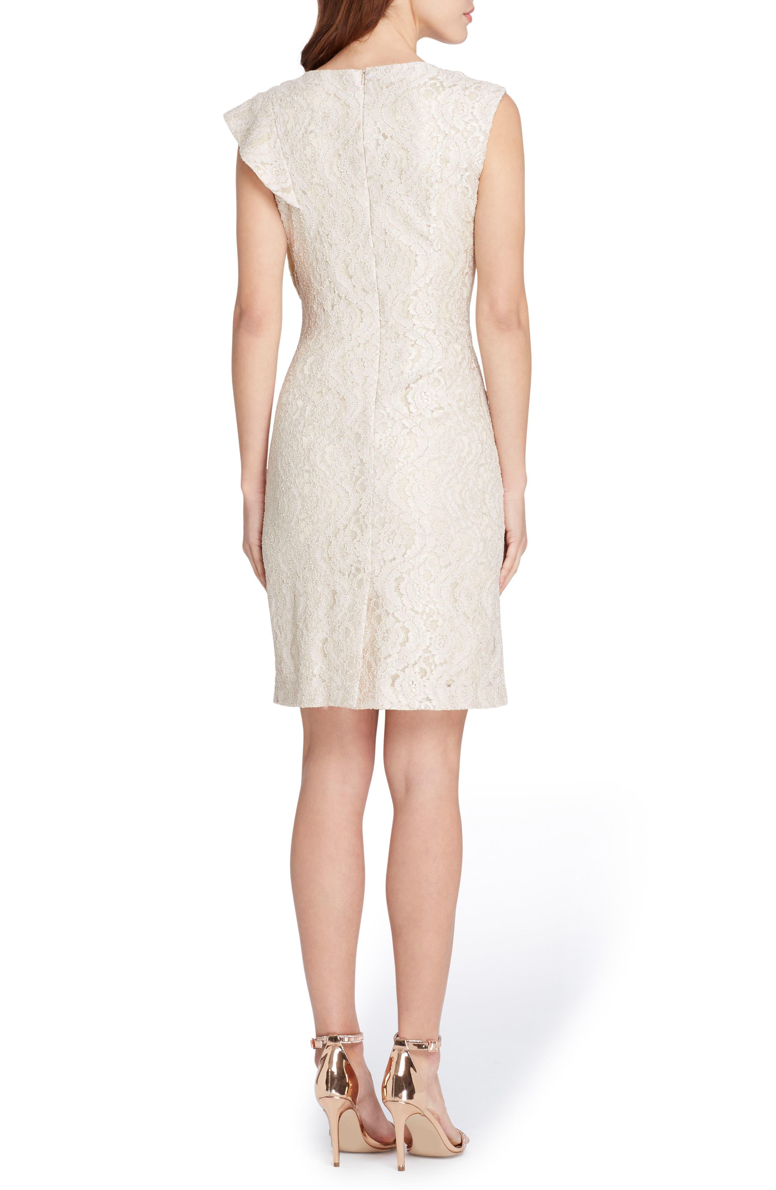 Ruffle Lace Sheath Dress,                             Alternate thumbnail 2, color,                             Champagne